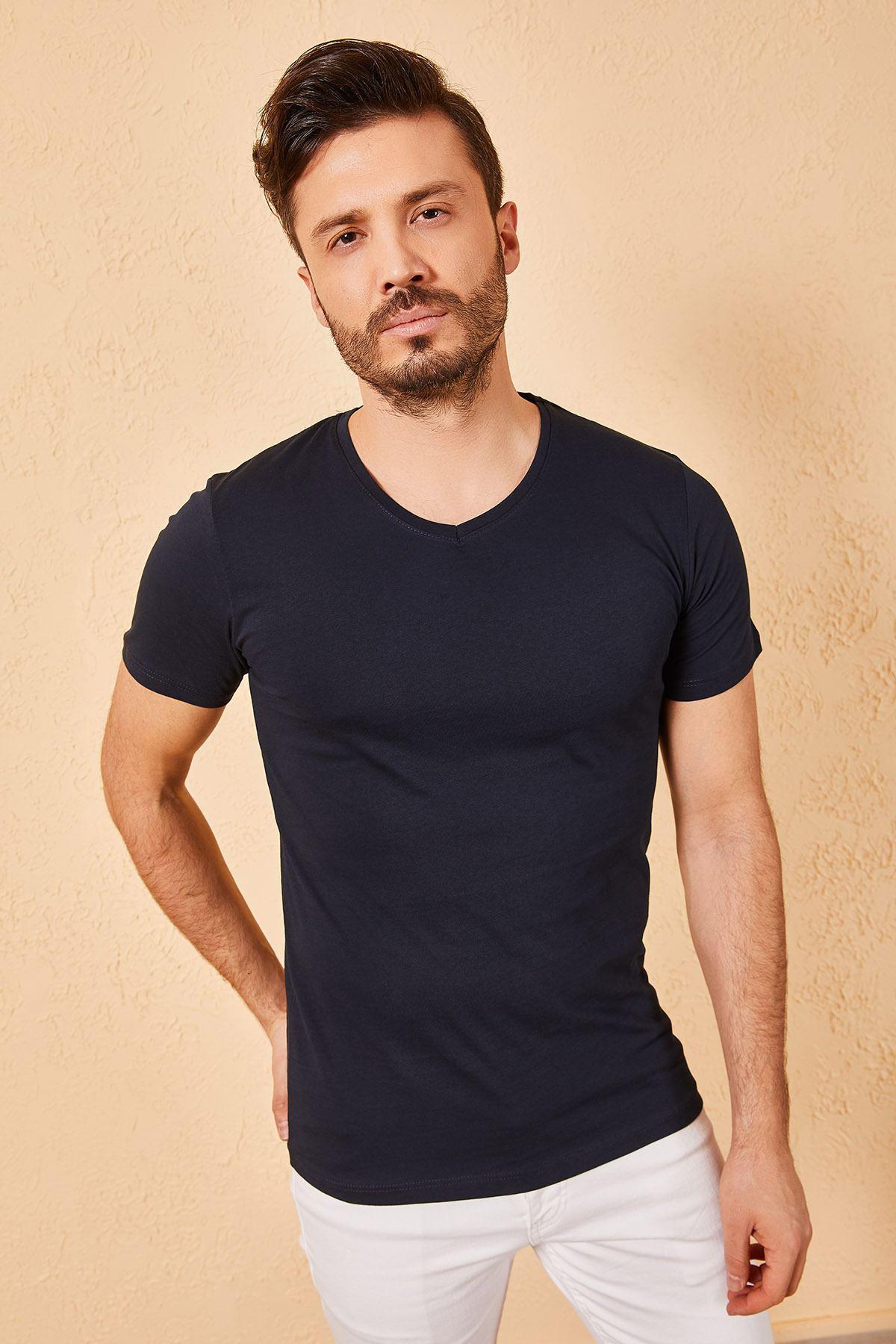 V Yaka Bay Lacivert T-Shirt