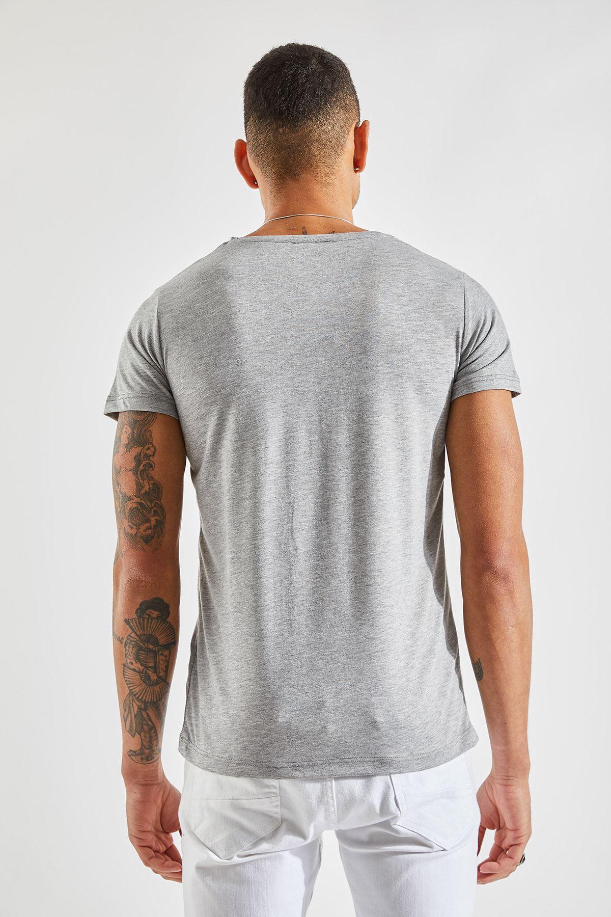 V Yaka Bay Gri T-Shirt