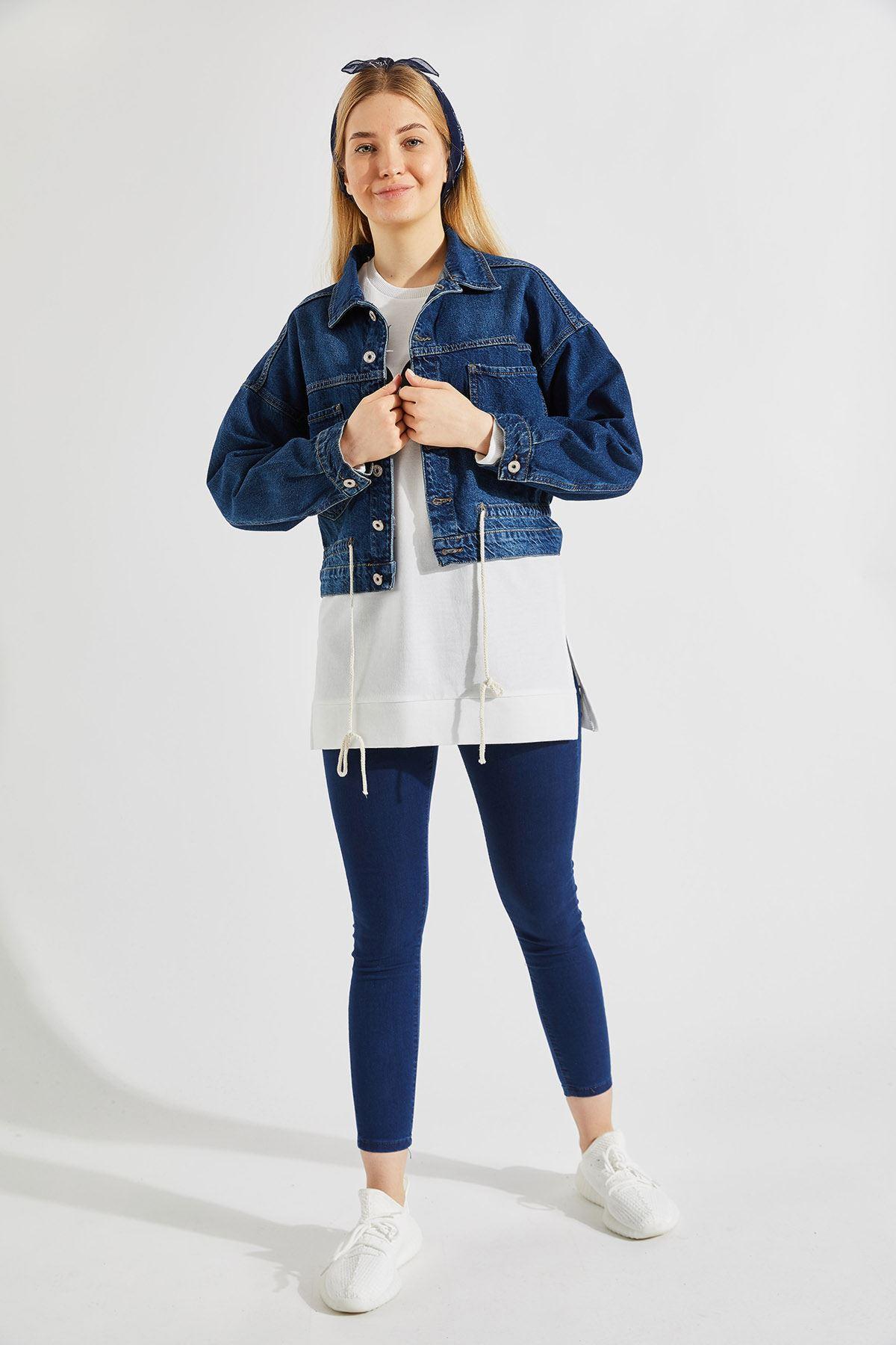 Kadın Çift Cep İp Bağcıklı Lacivert Kot Ceket