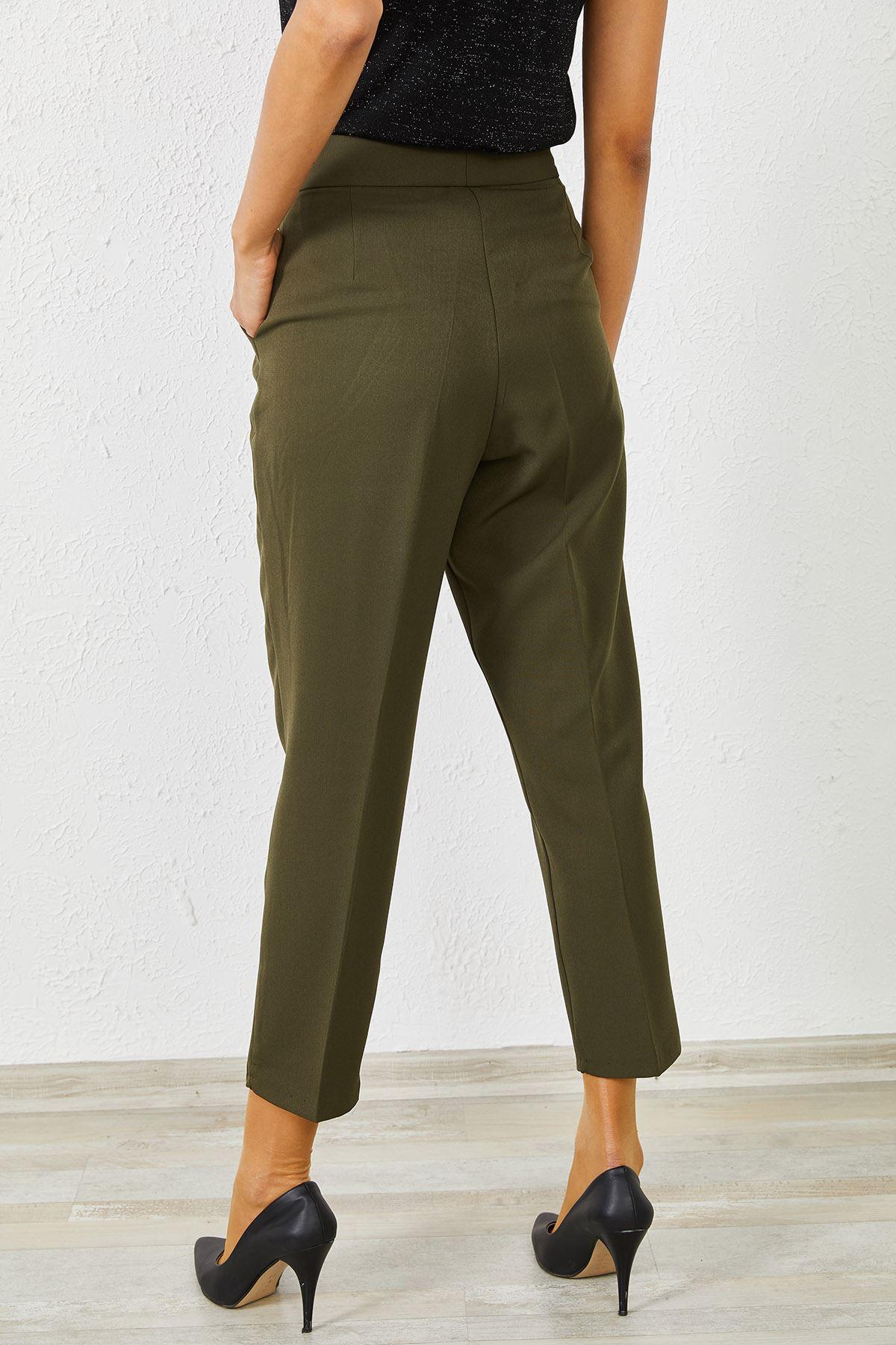 Kadın Klasik Haki Kalem Pantolon