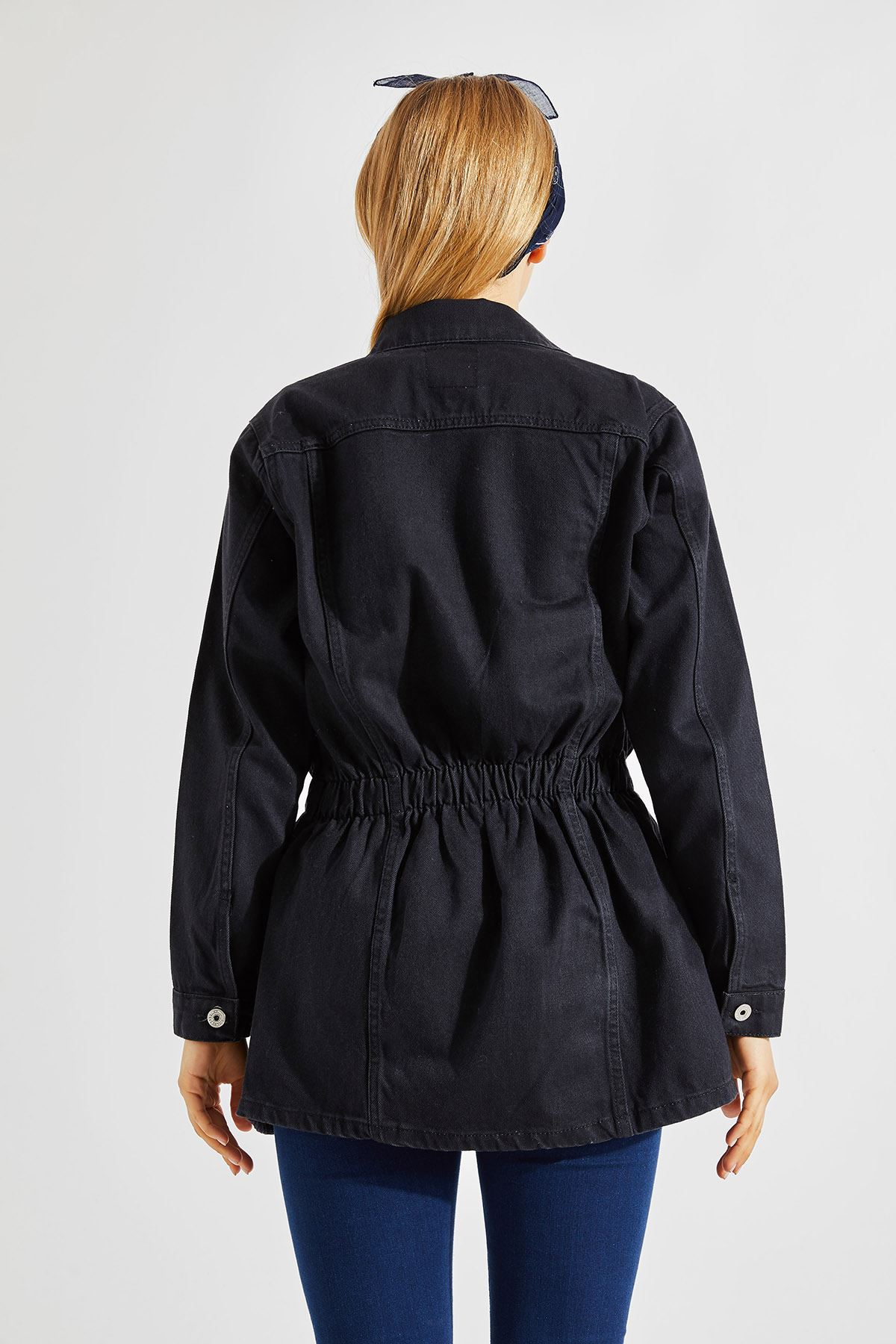 Kadın Bel Lastikli Uzun Füme Kot Ceket
