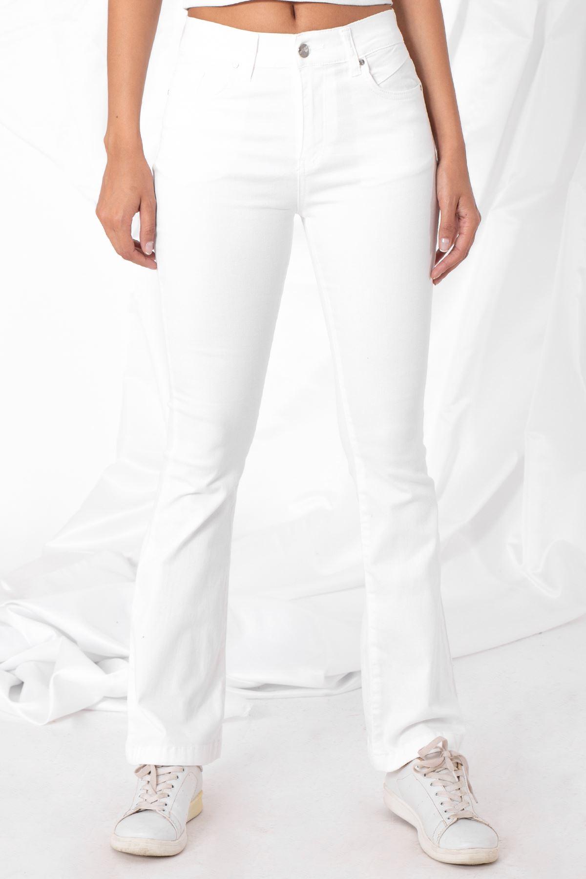 Kadın İspanyol Paça Beyaz Pantolon
