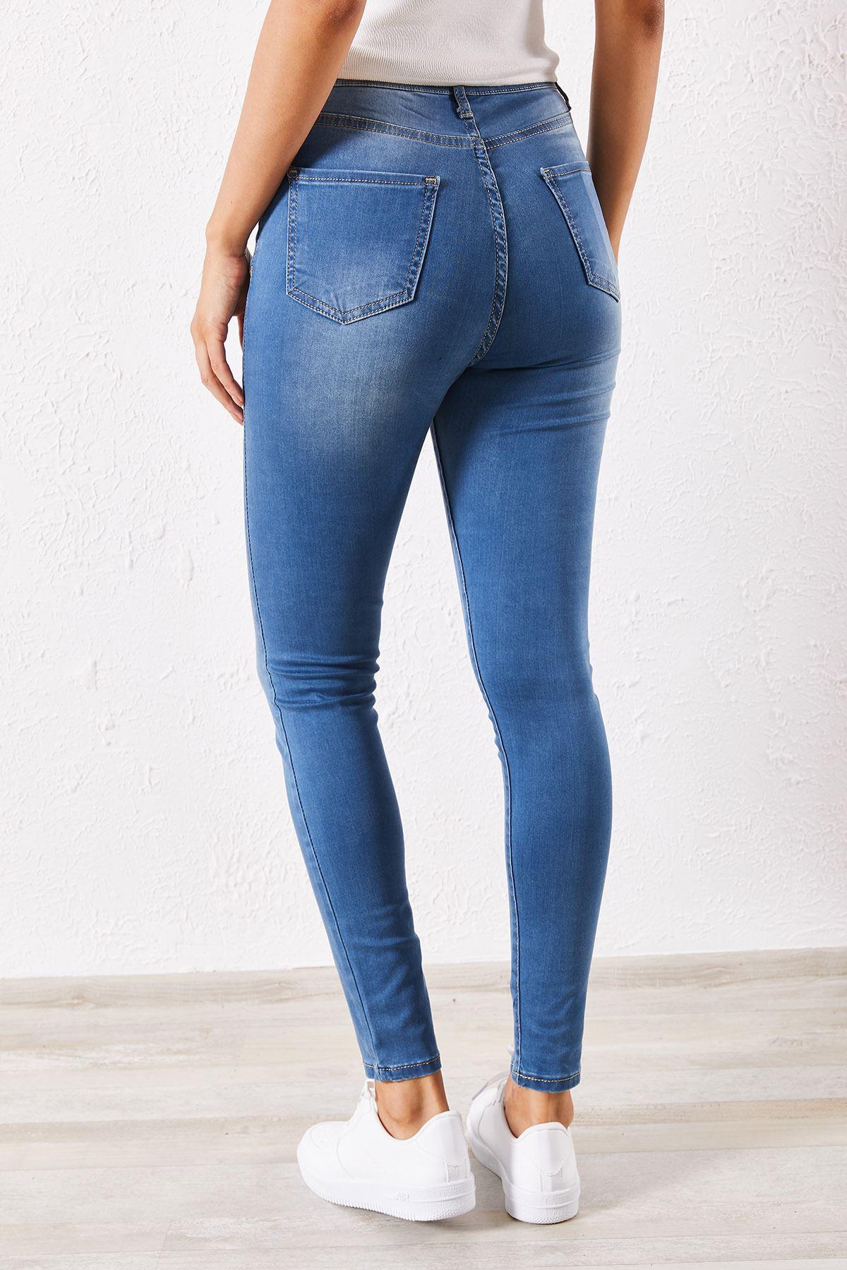 Kadın Likralı Slim Mavi Kot Pantolon