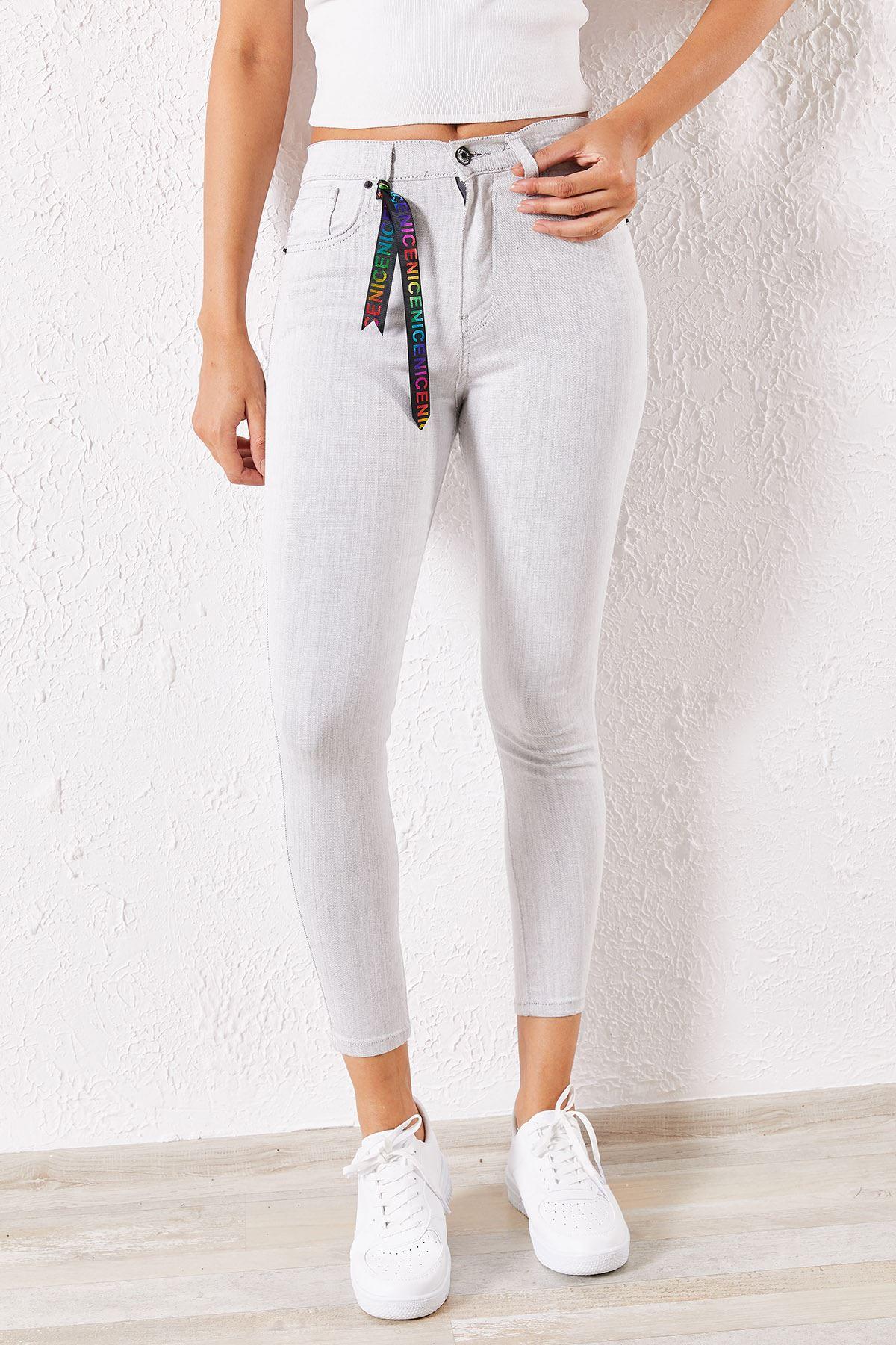 Kadın Likralı Slim Gri Kot Pantolon