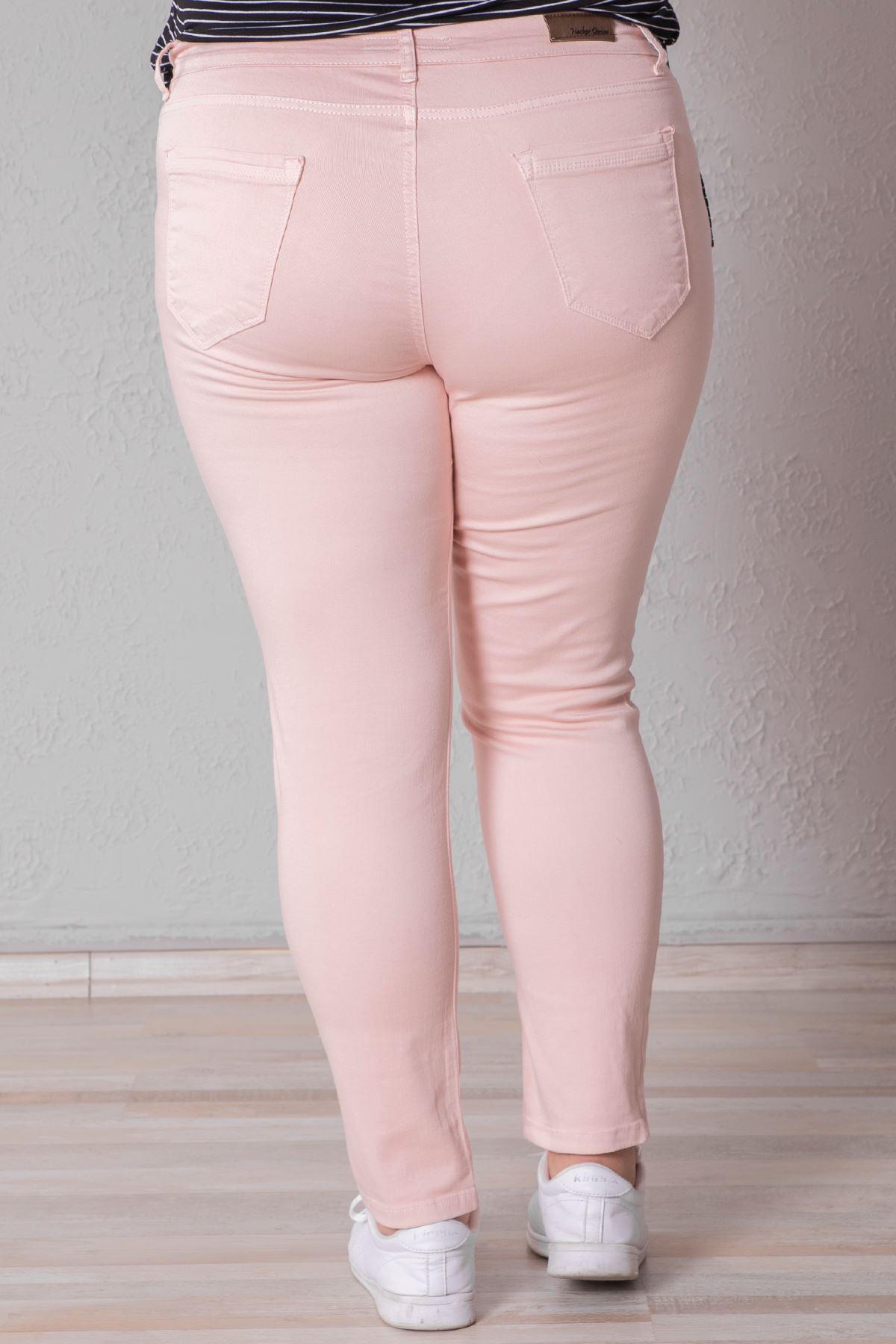 Kadın Battal Enzim Yıkamalı Pembe Kot Pantolon