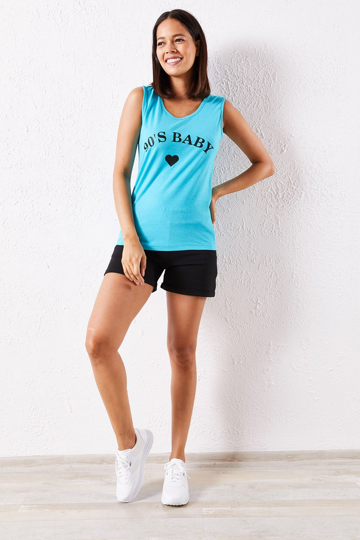 Kadın Atlet Kalp Baskılı Mavi Şortlu Takım