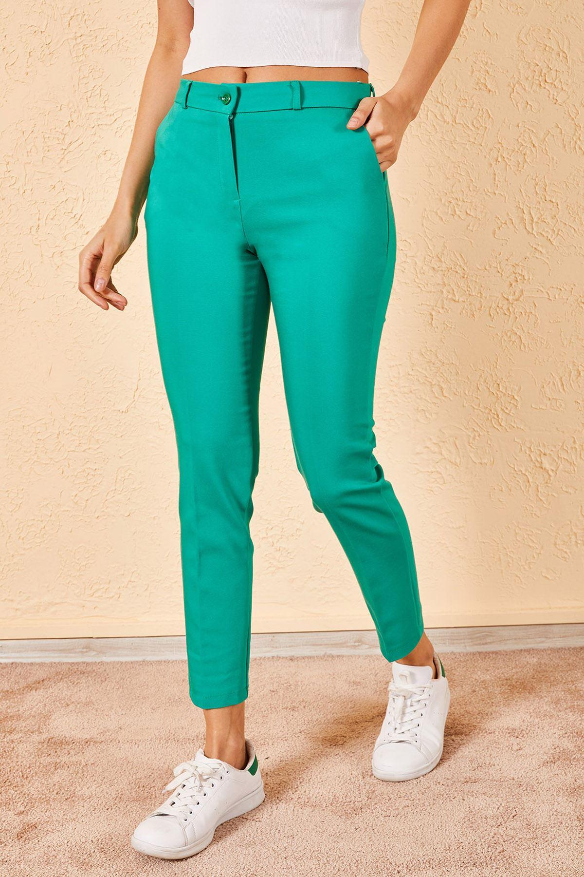 Kadın Kalem Yeşil Pantolon