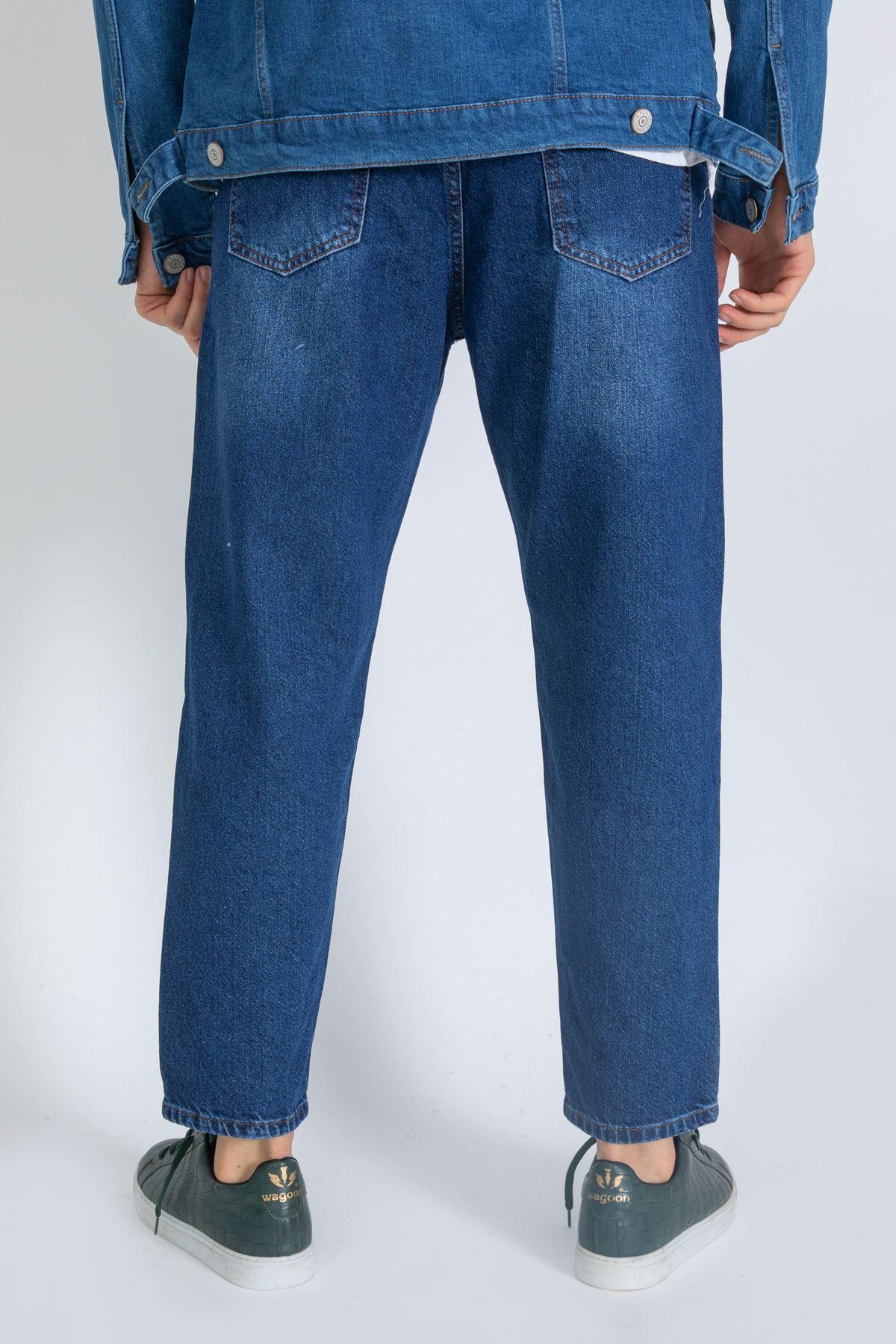 Erkek Lazer Tırnaklı Boyfriend Mavi Kot Pantolon