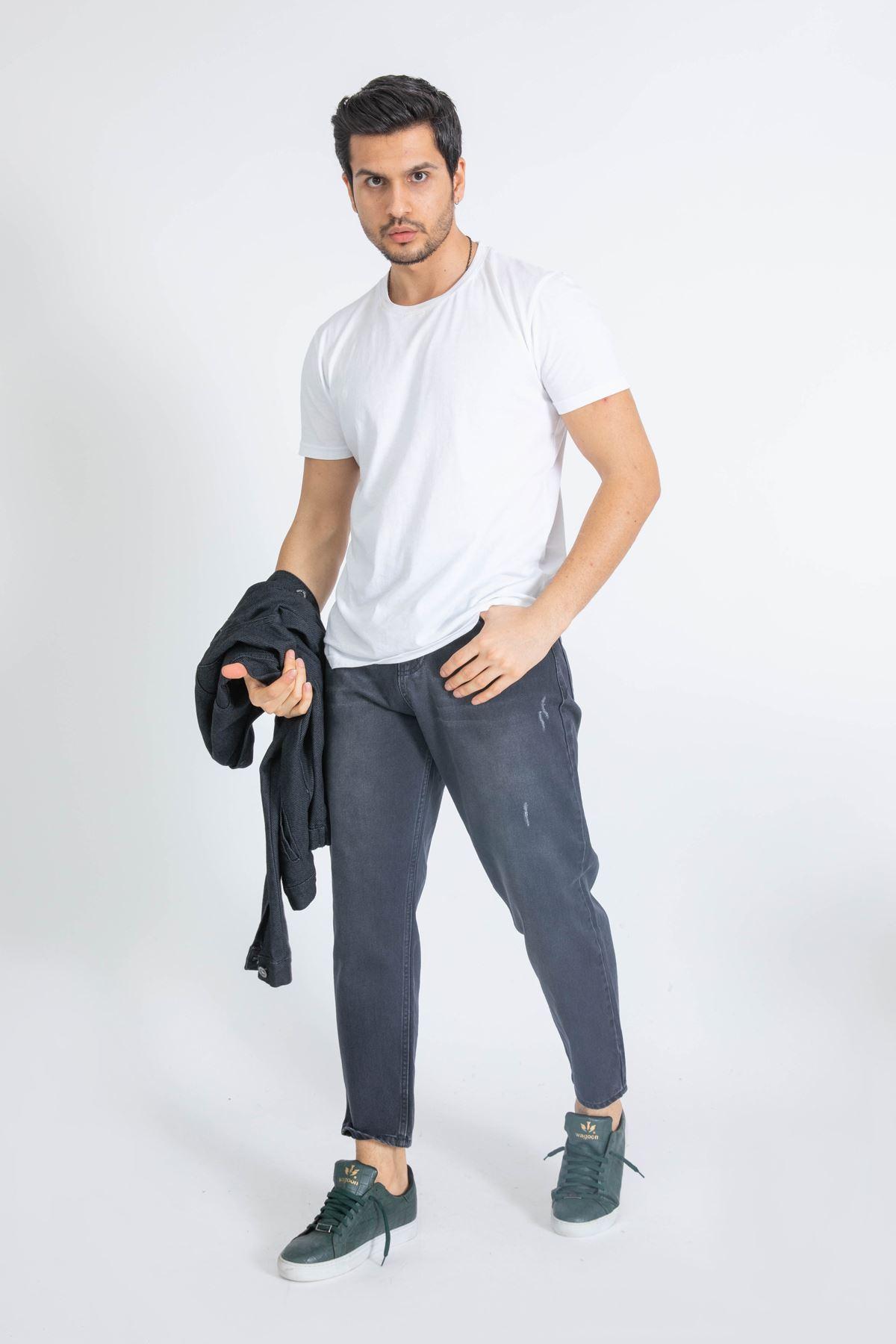Erkek Boyfriend Antrasit Kot Pantolon