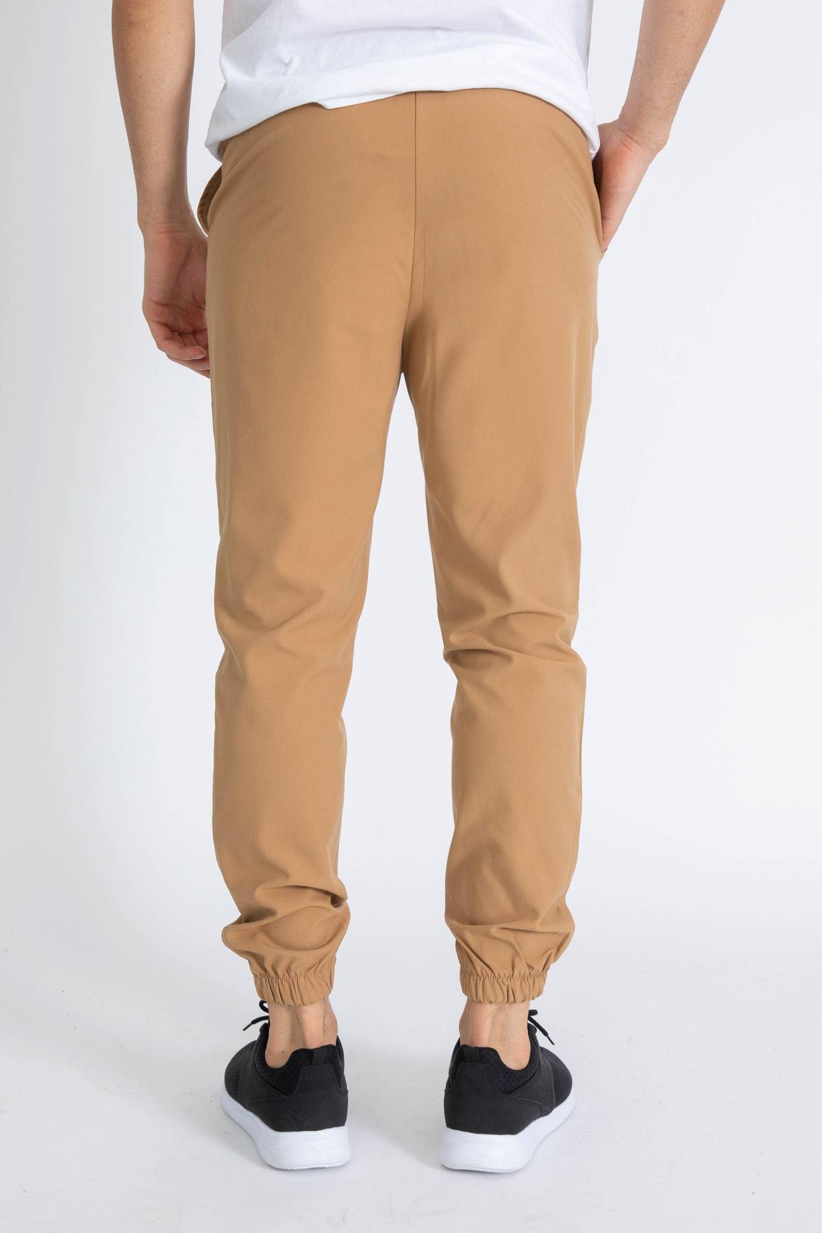 Erkek Paça Lastikli Taba Dalgıç Pantolon