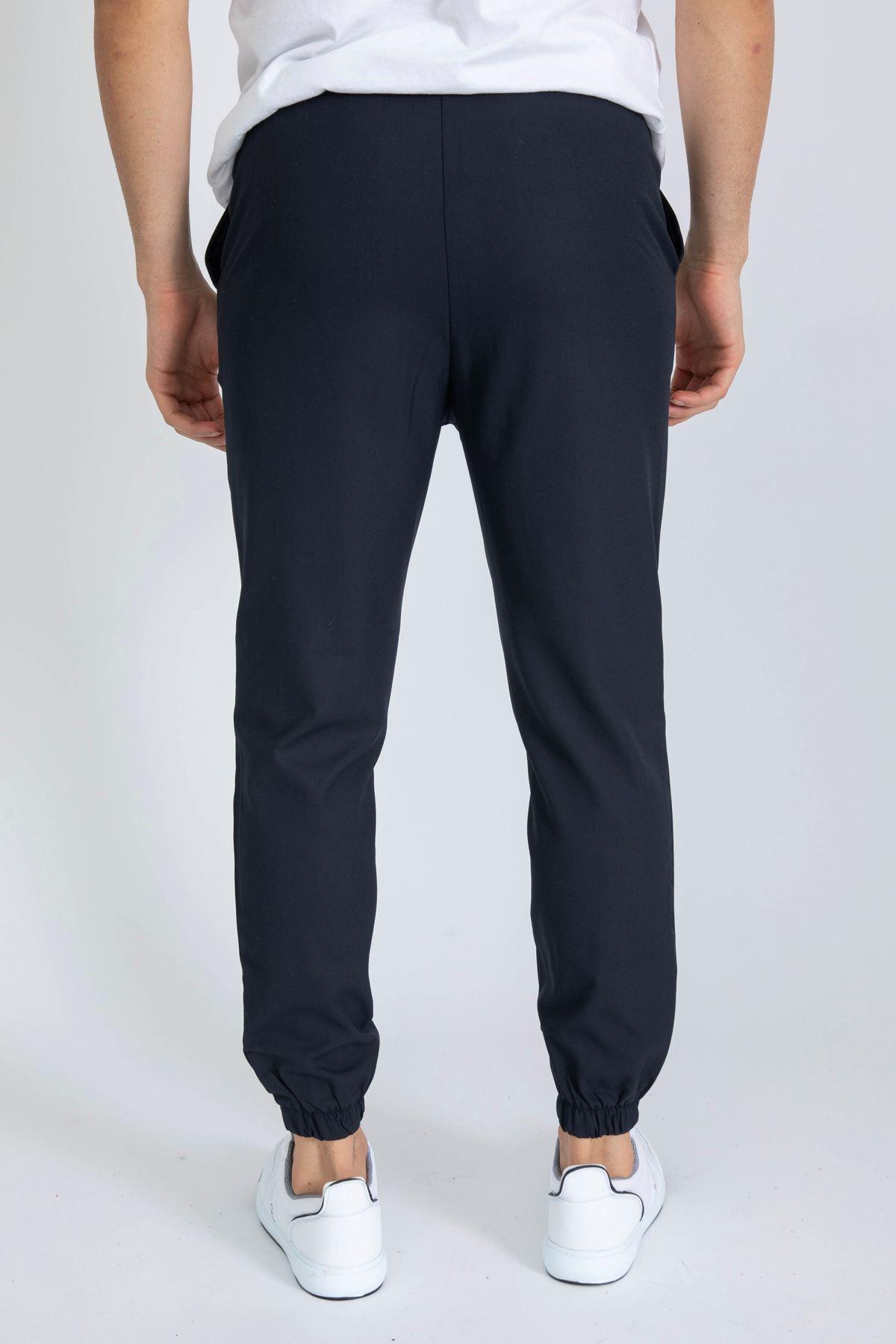 Erkek Paça Lastikli Lacivert Dalgıç Pantolon