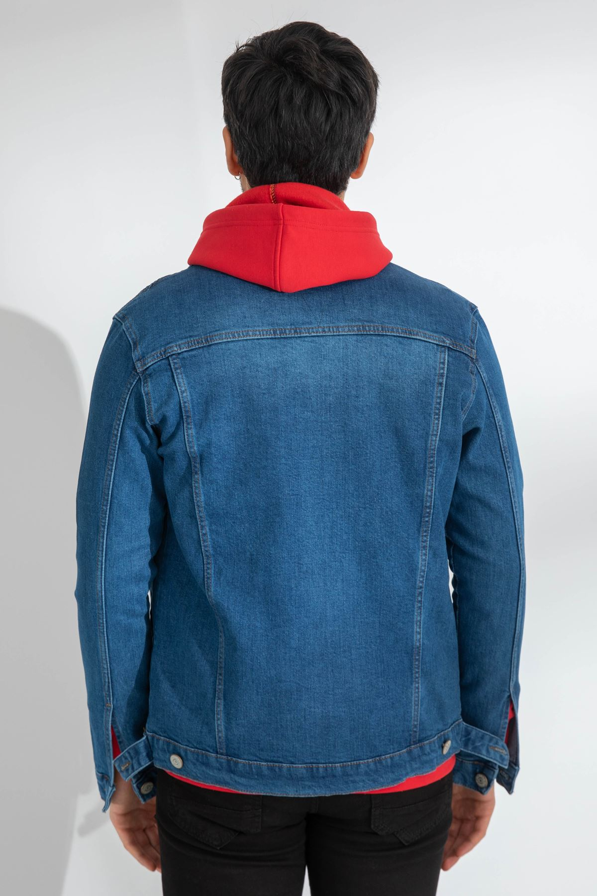 Erkek Likralı Açık Mavi Kot Ceket