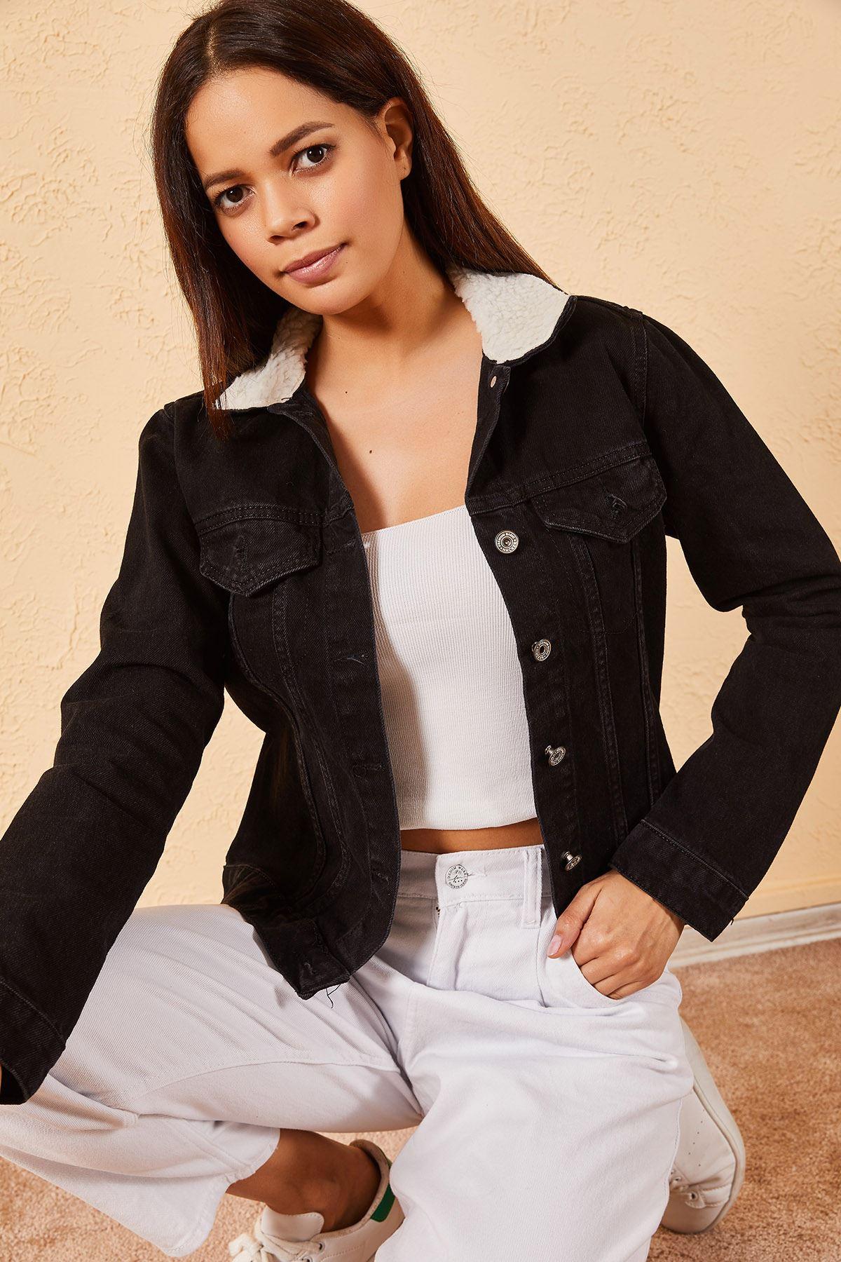 Kadın Enzim Yıkamalı Yaka Kürklü Ceket