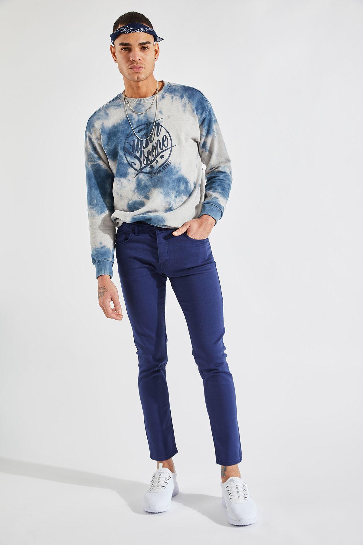 Erkek Likralı Slim Mavi Saten Pantolon