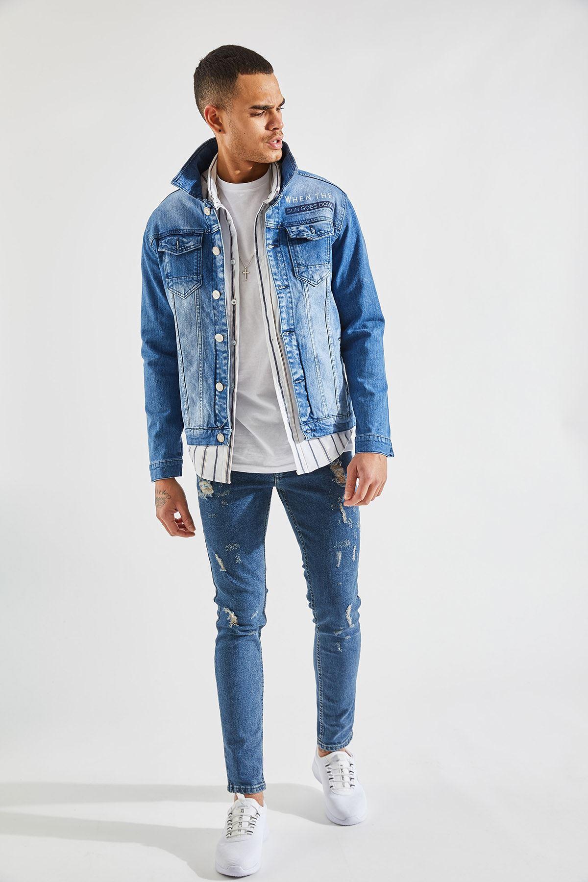 Erkek Slim Baskılı Mavi Kot Ceket