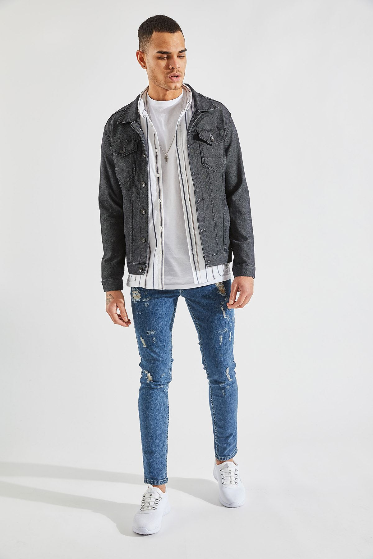 Erkek Likralı Örgü Füme Kot Ceket