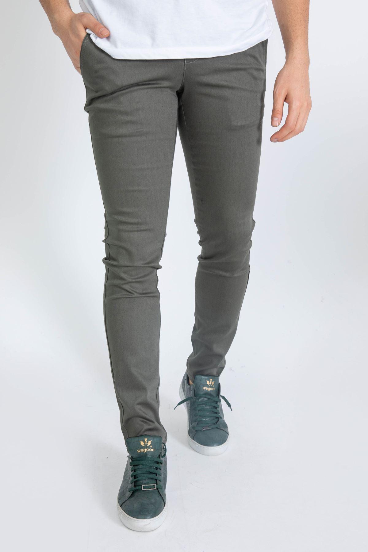 Erkek Slim Yan Cepli Enzim Yıkamalı Armüllü Yeşil Pantolon