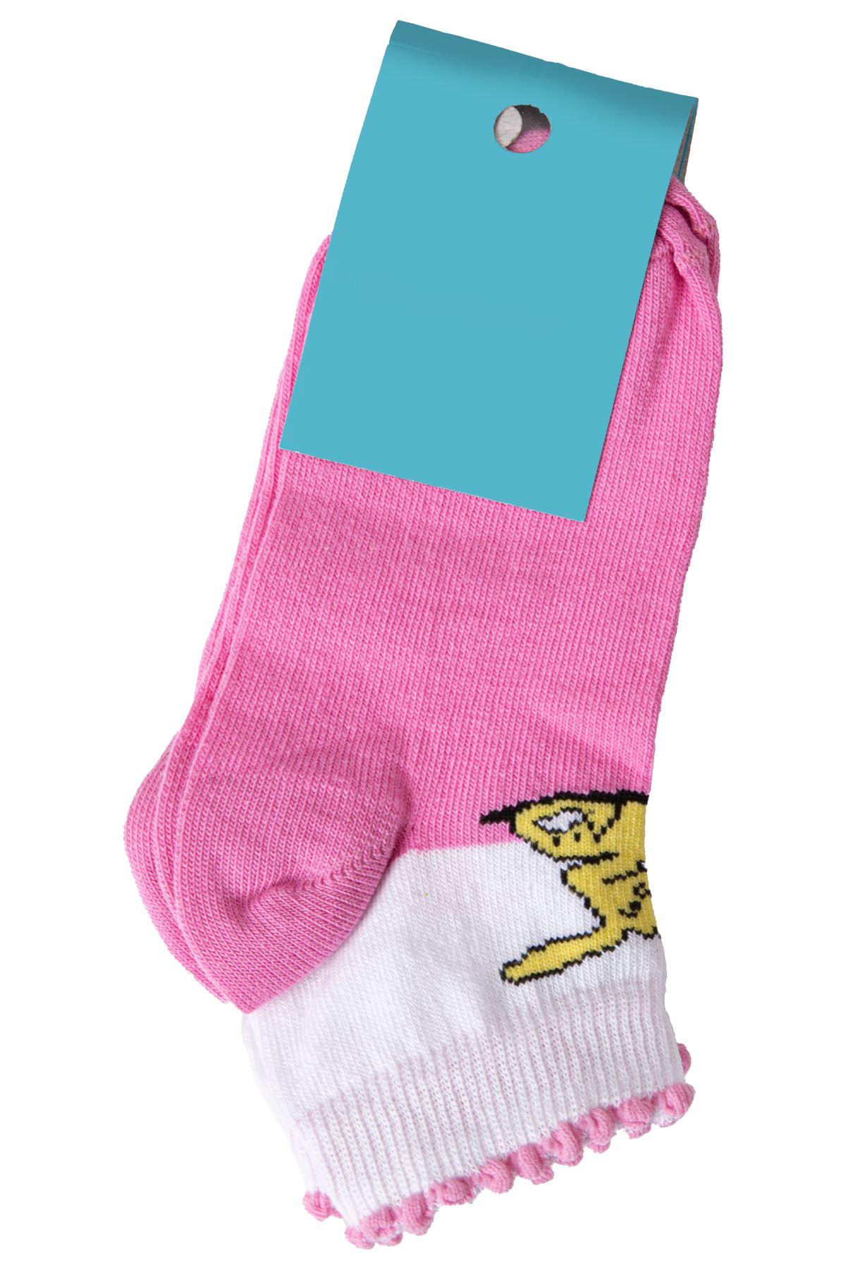 Kız Çocuk Baskılı Pembe Çorap
