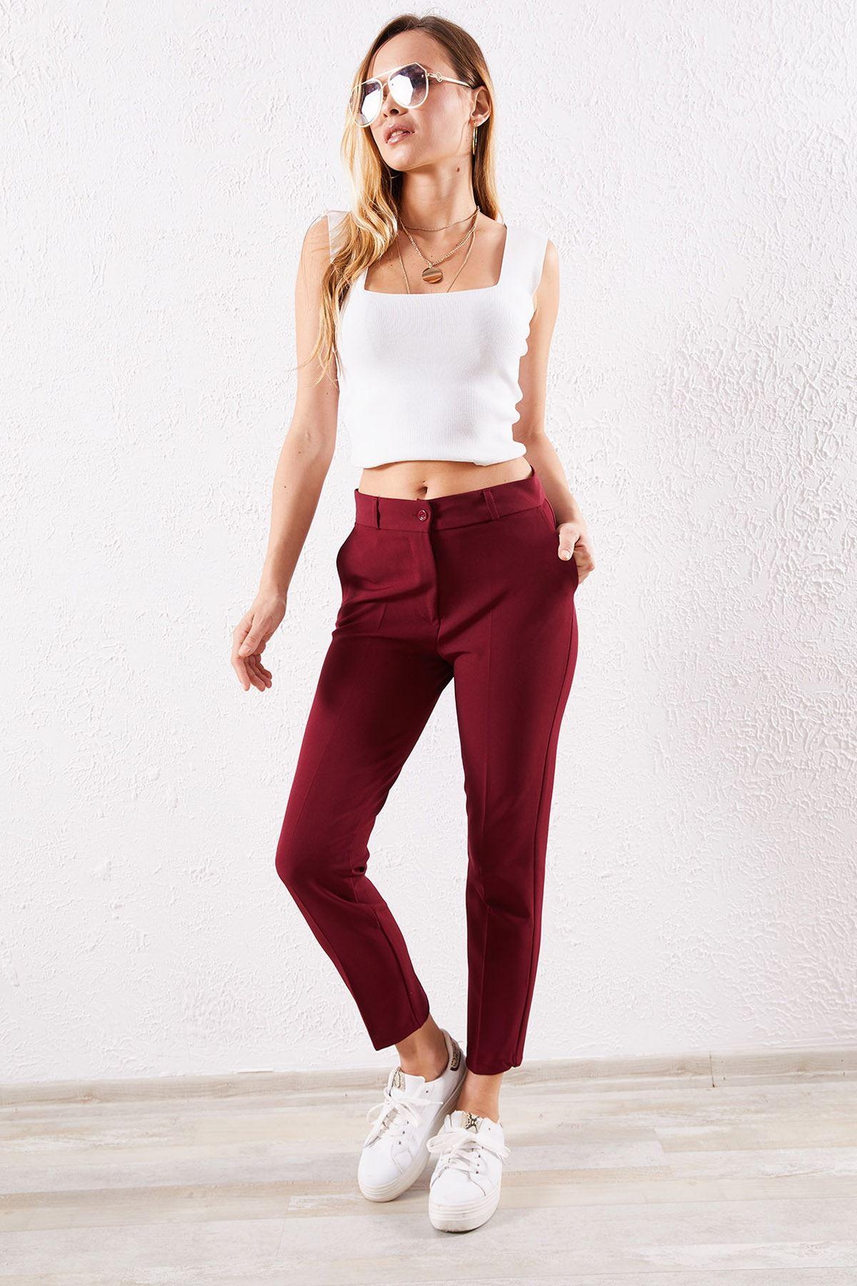 Kadın Kalem Bordo Pantolon