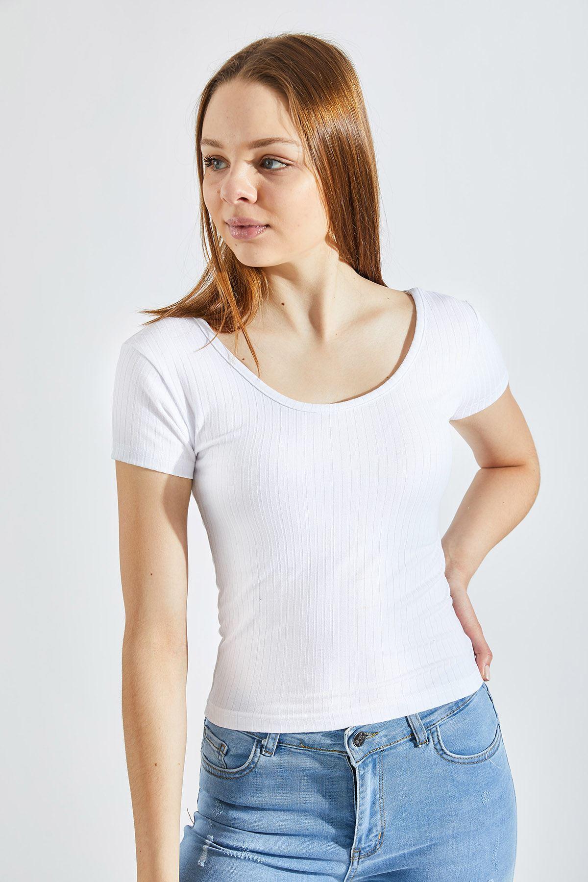 Kadın Prenses Kaşkorse Crop Beyaz Tişört