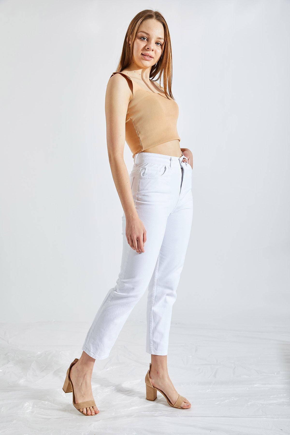 Kadın Boyfriend Beyaz Kot Pantolon