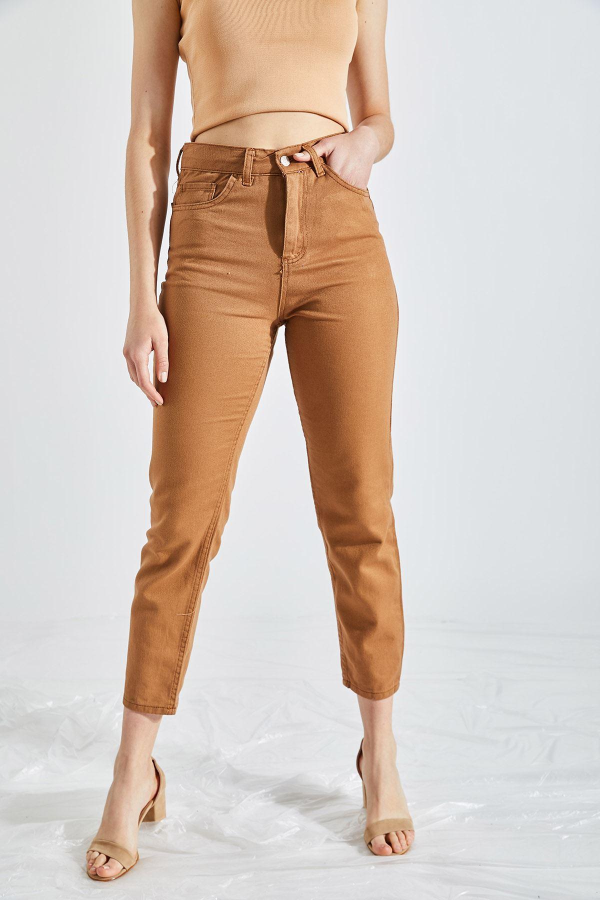 Kadın Boyfriend Kahverengi Kot Pantolon