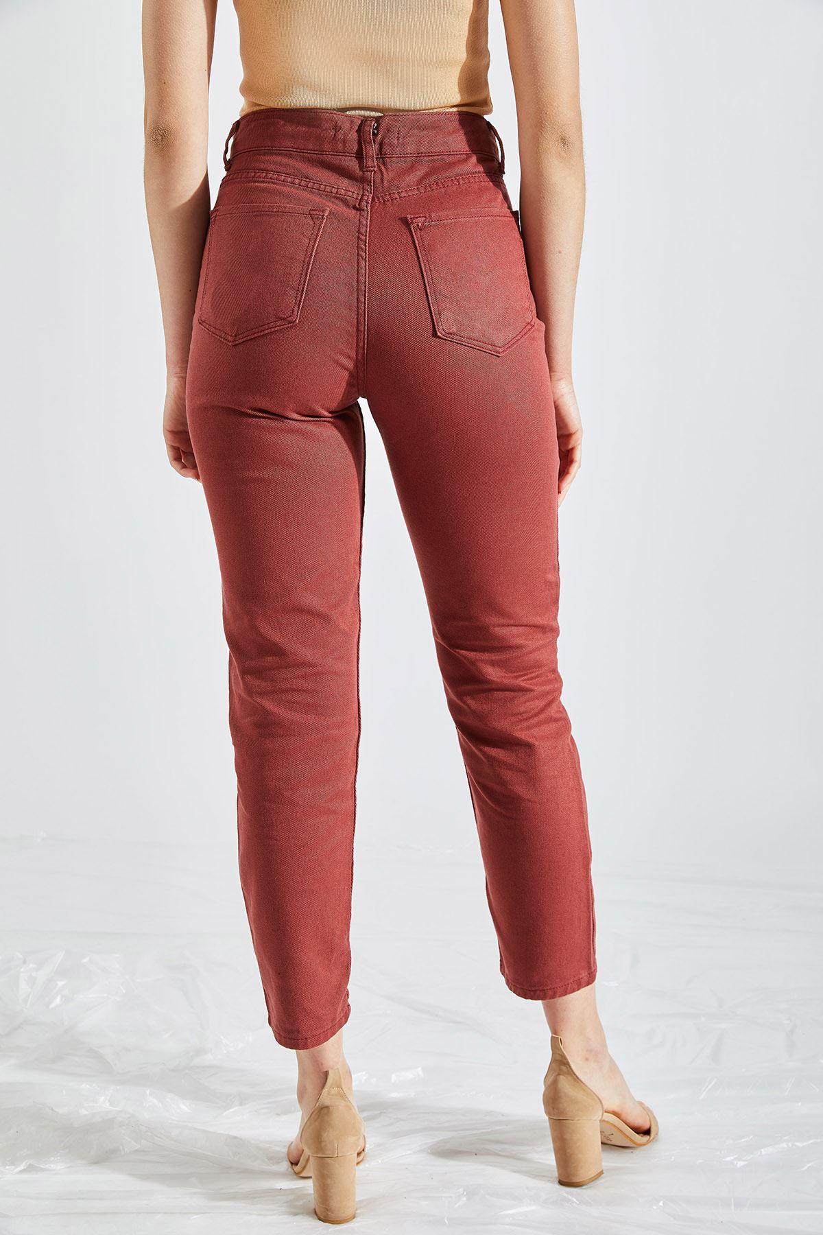 Kadın Boyfriend Kiremit Kot Pantolon