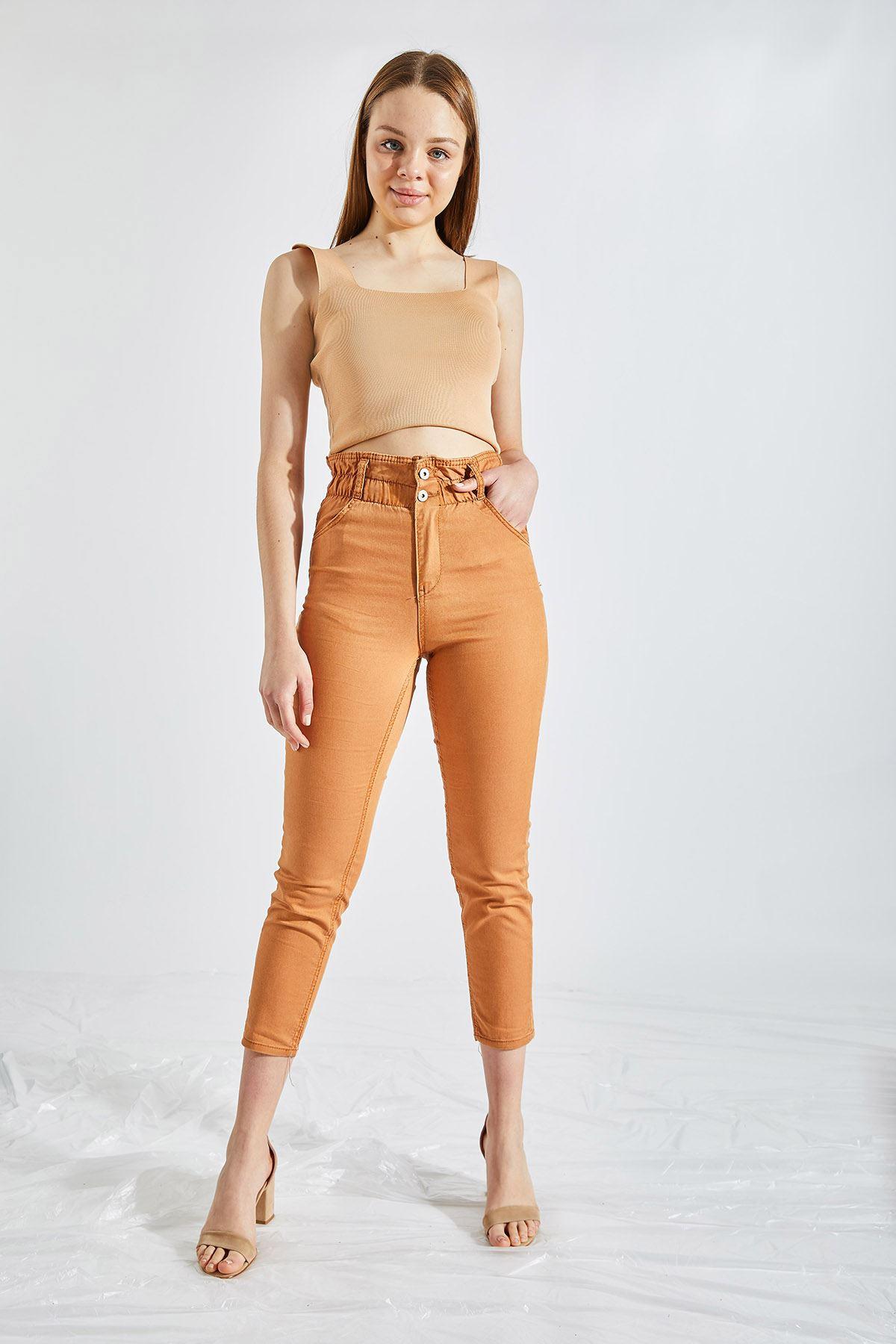 Kadın Likralı Bel Lastikli Kahverengi Kot Pantolon