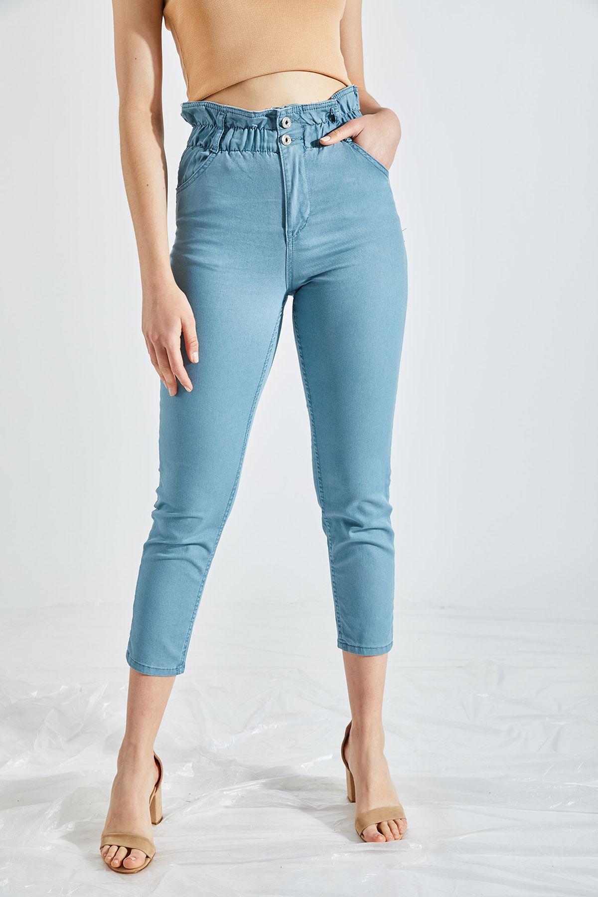 Kadın Likralı Bel Lastikli Mavi Kot Pantolon