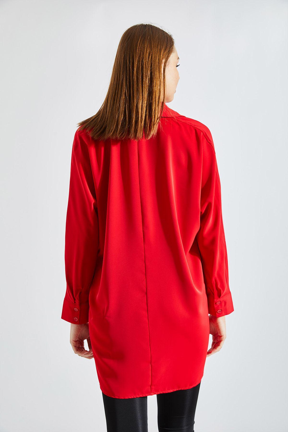 Kadın Cepli Kırmızı Gömlek