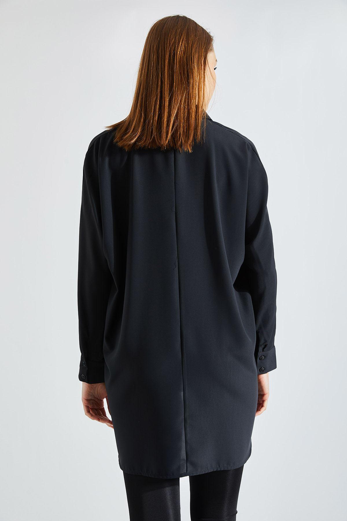 Kadın Cepli Siyah Gömlek