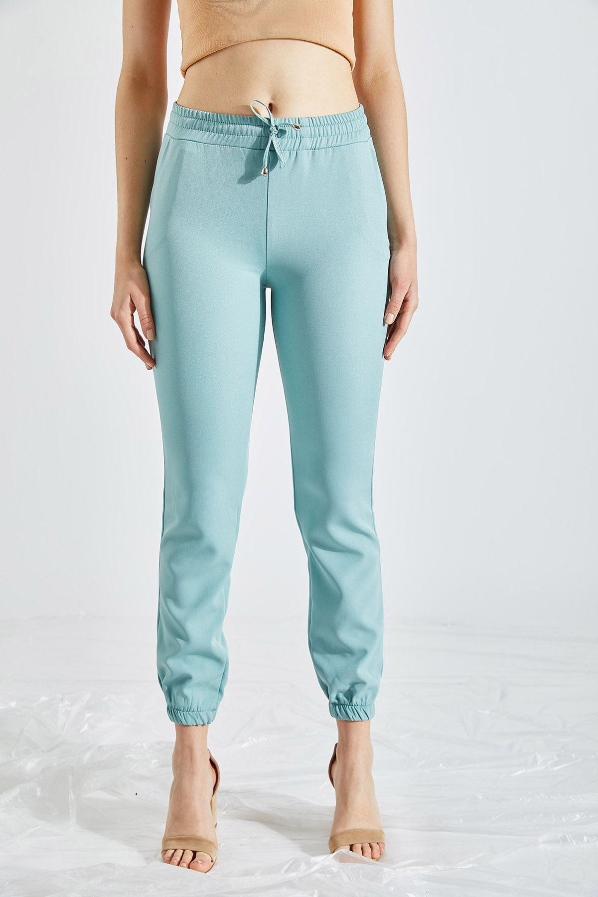 Kadın Bel Ve Paça Lastikli Mint Kumaş Pantolon