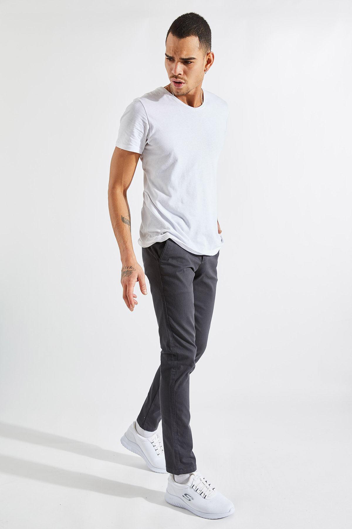 Erkek Slim Yan Cepli Antrasit Örgü Pantolon