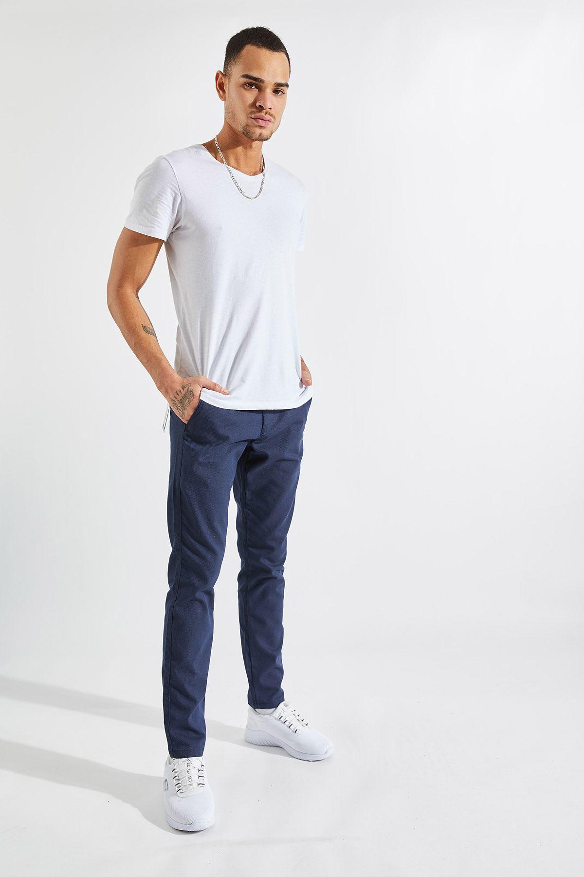 Erkek Slim Yan Cepli Lacivert Örgü Pantolon