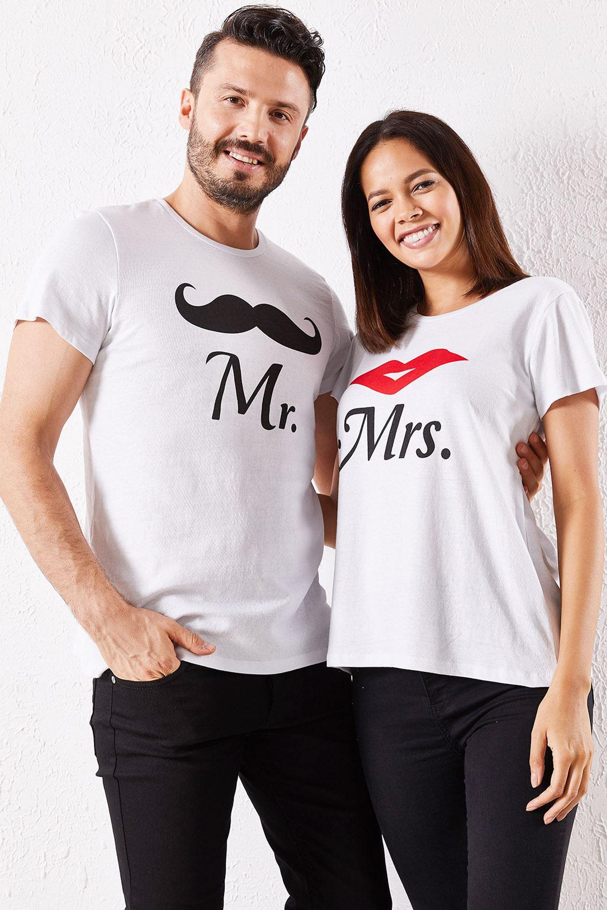 Eşli Mr Rigbt Baskılı Beyaz Tişört