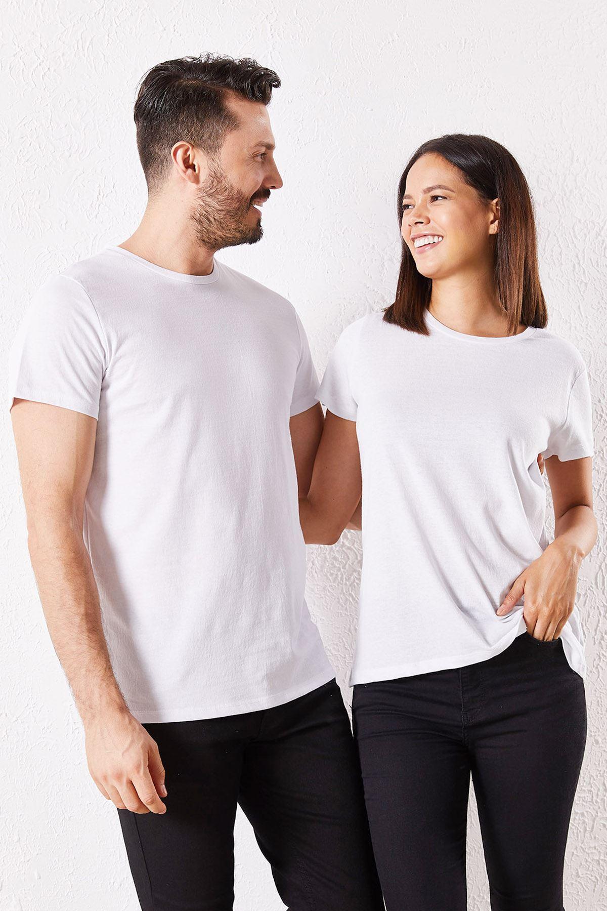 Eşli Mr. Baskılı Beyaz Tişört