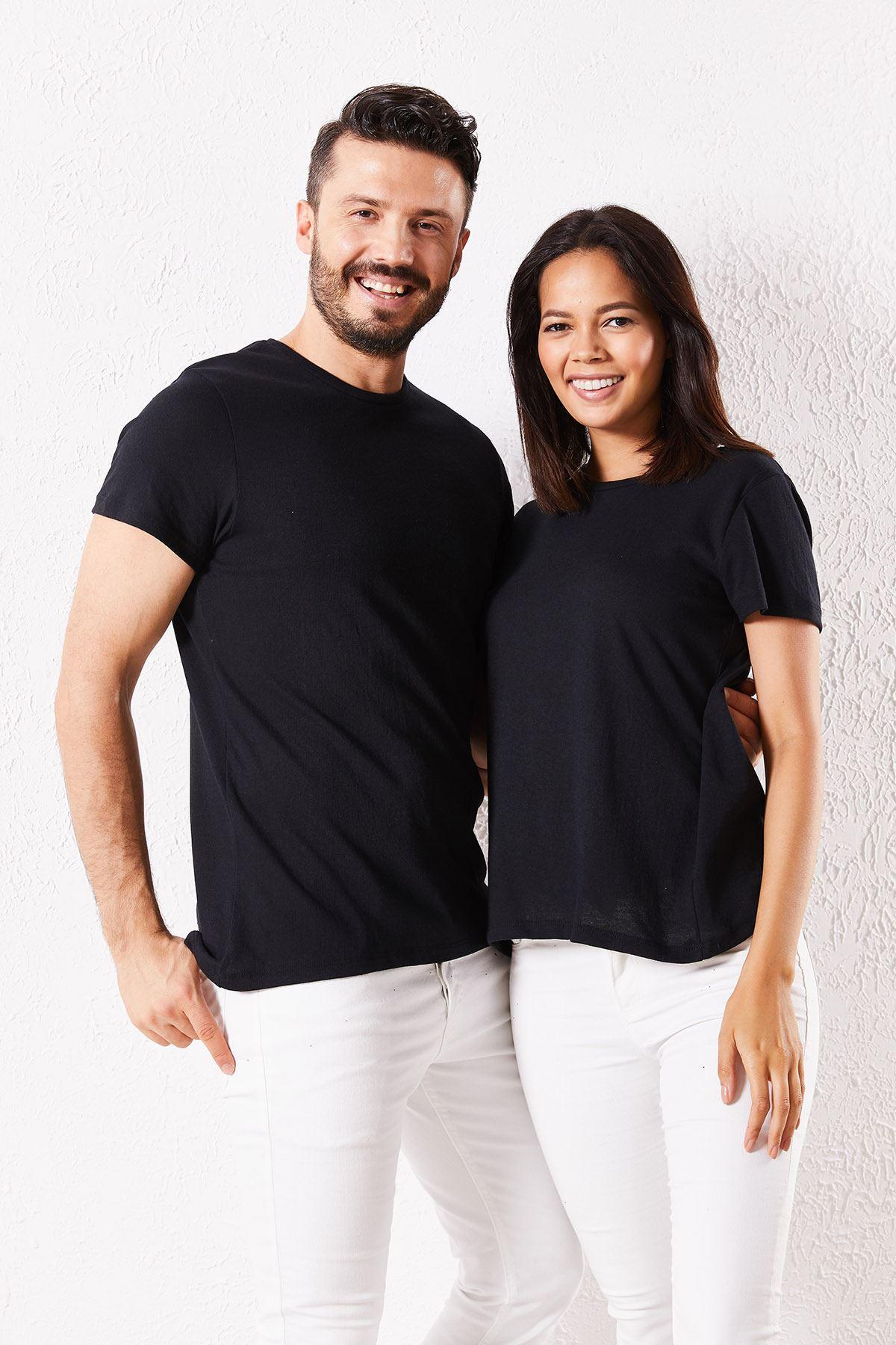 Eşli Mr. Baskılı Siyah Tişört