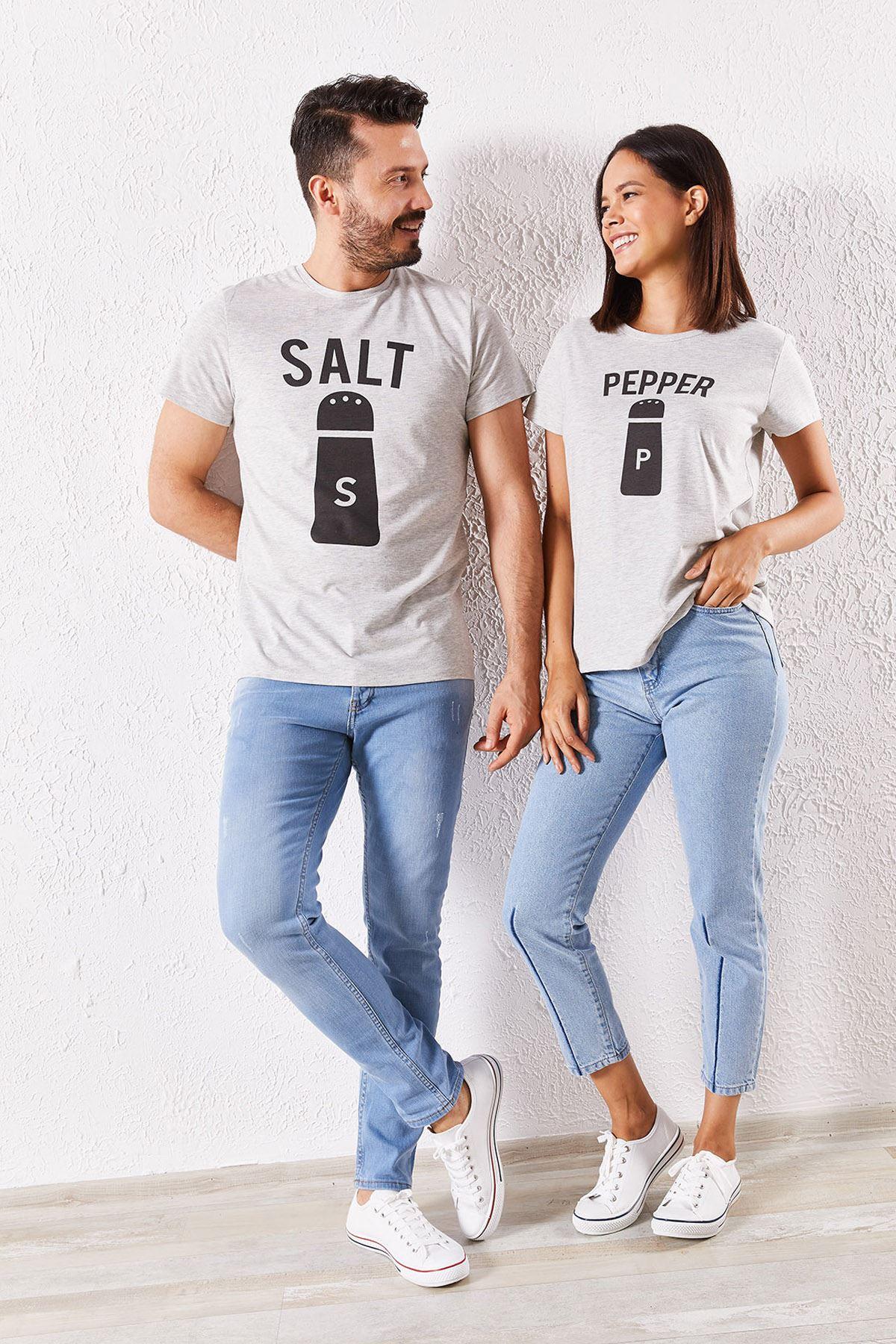 Eşli Salt Baskılı Gri Tişört