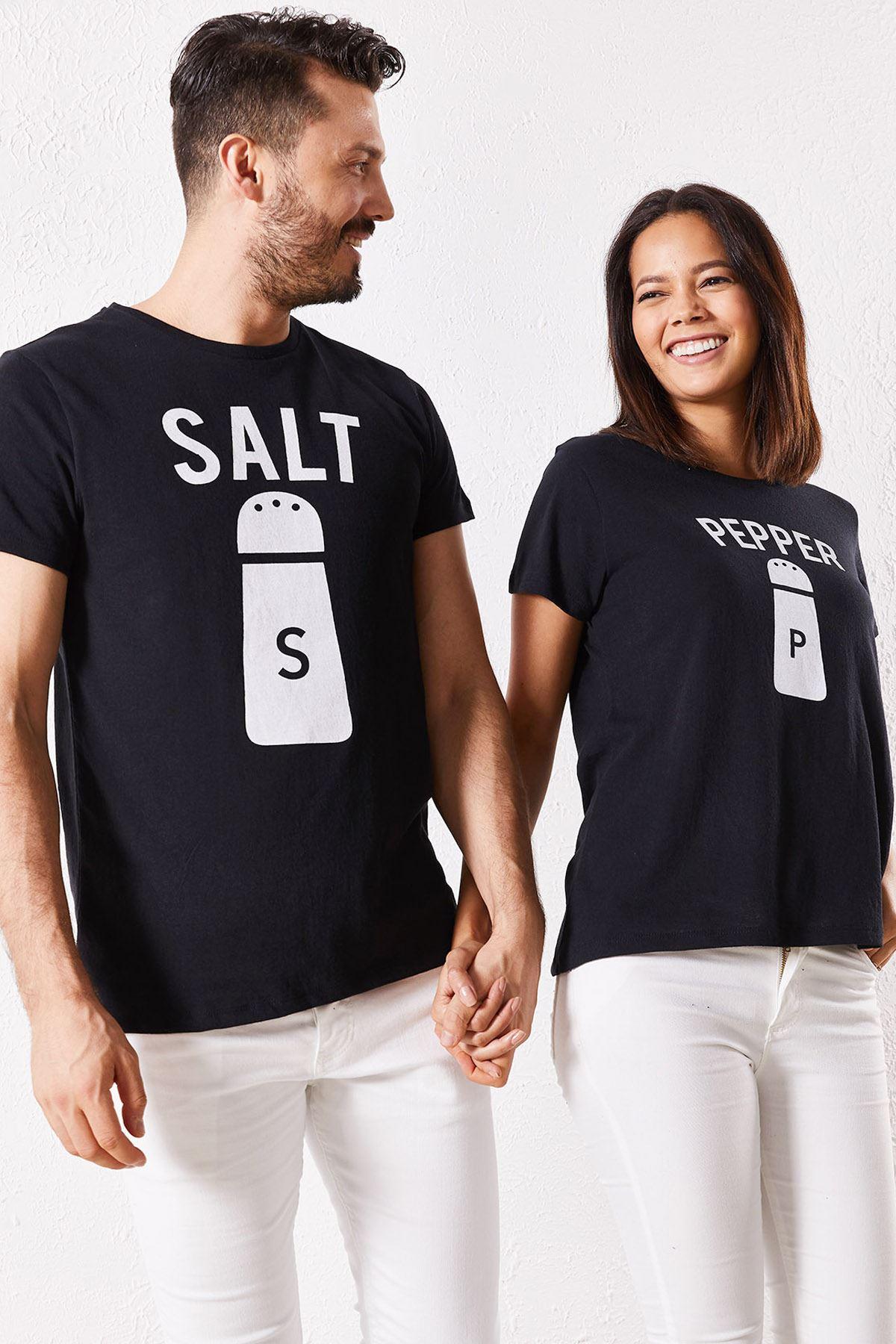 Eşli Salt Baskılı Siyah Tişört