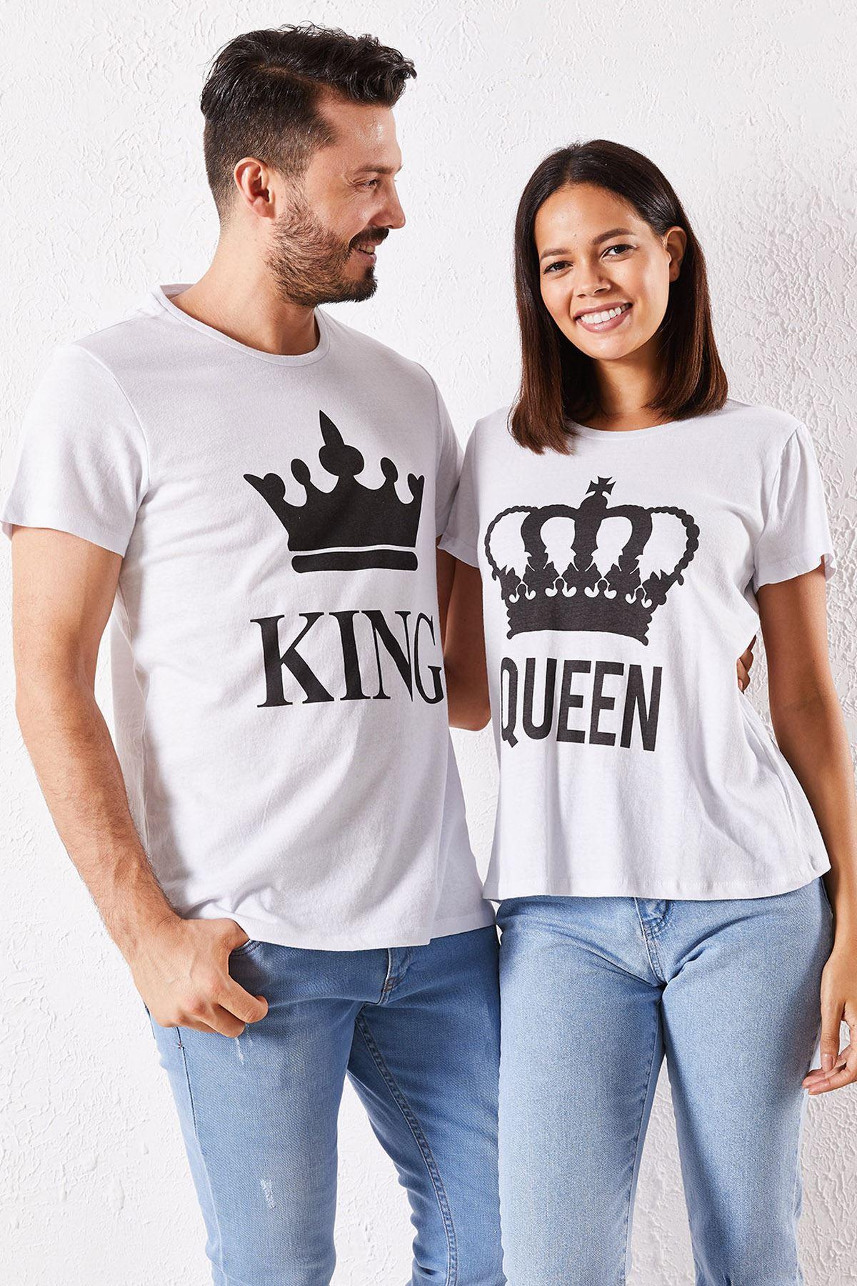 Eşli King Baskılı Beyaz Tİşört