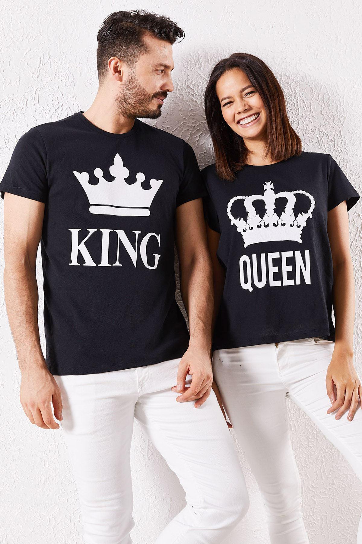 Eşli King Baskılı Siyah Tİşört