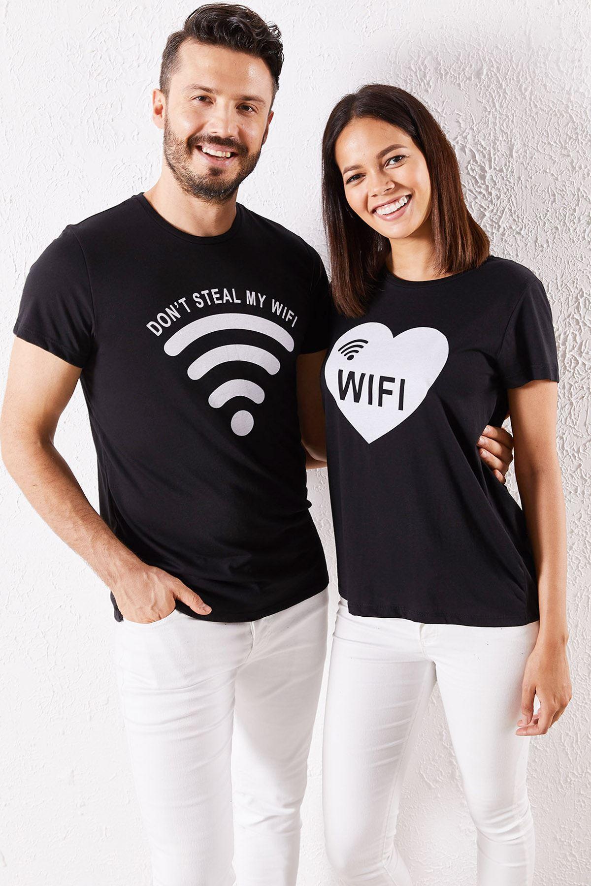 Eşli Wifi Baskılı Siyah Tişört