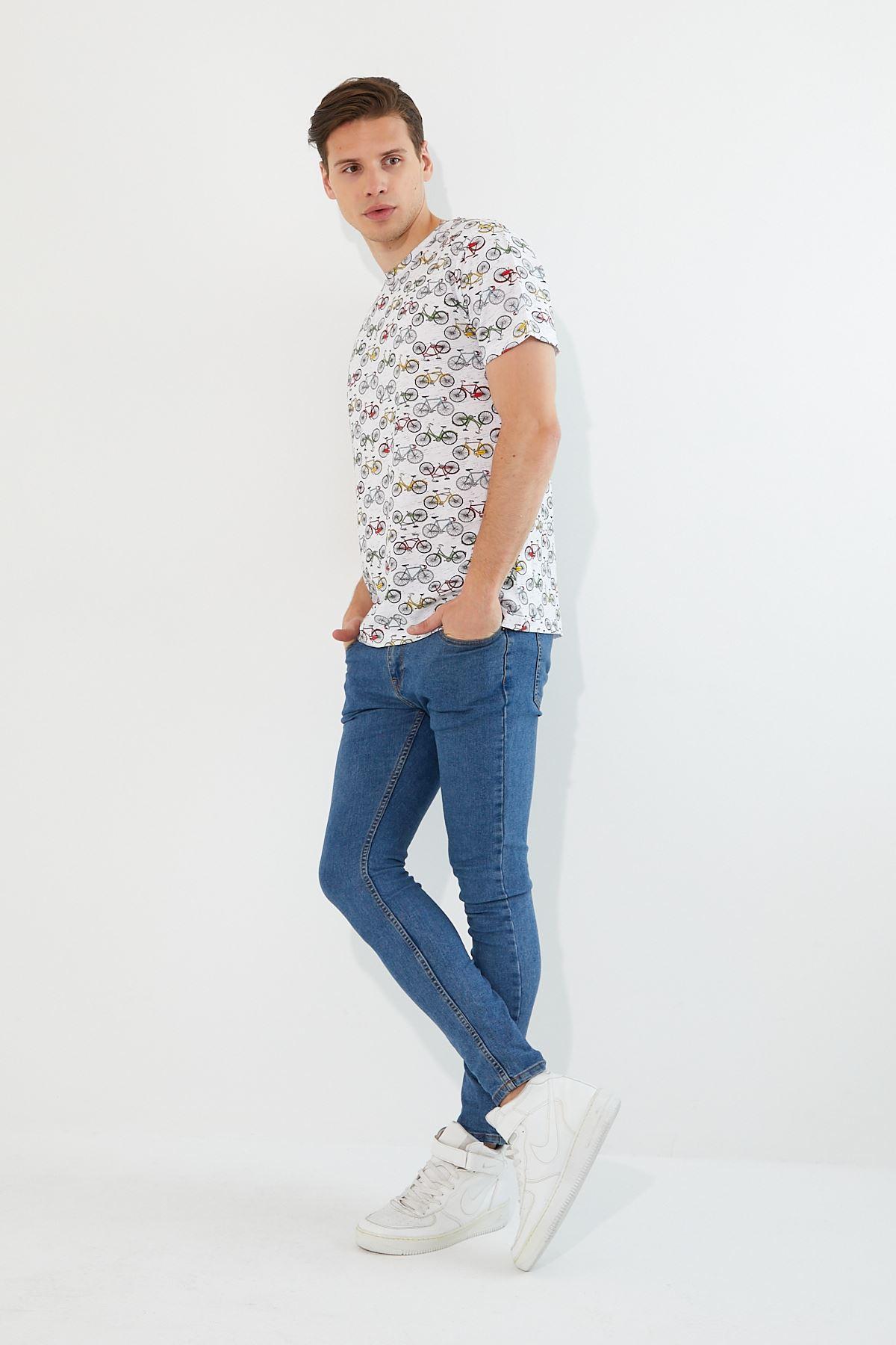 Erkek Bisiklet Baskı Beyaz Tişört