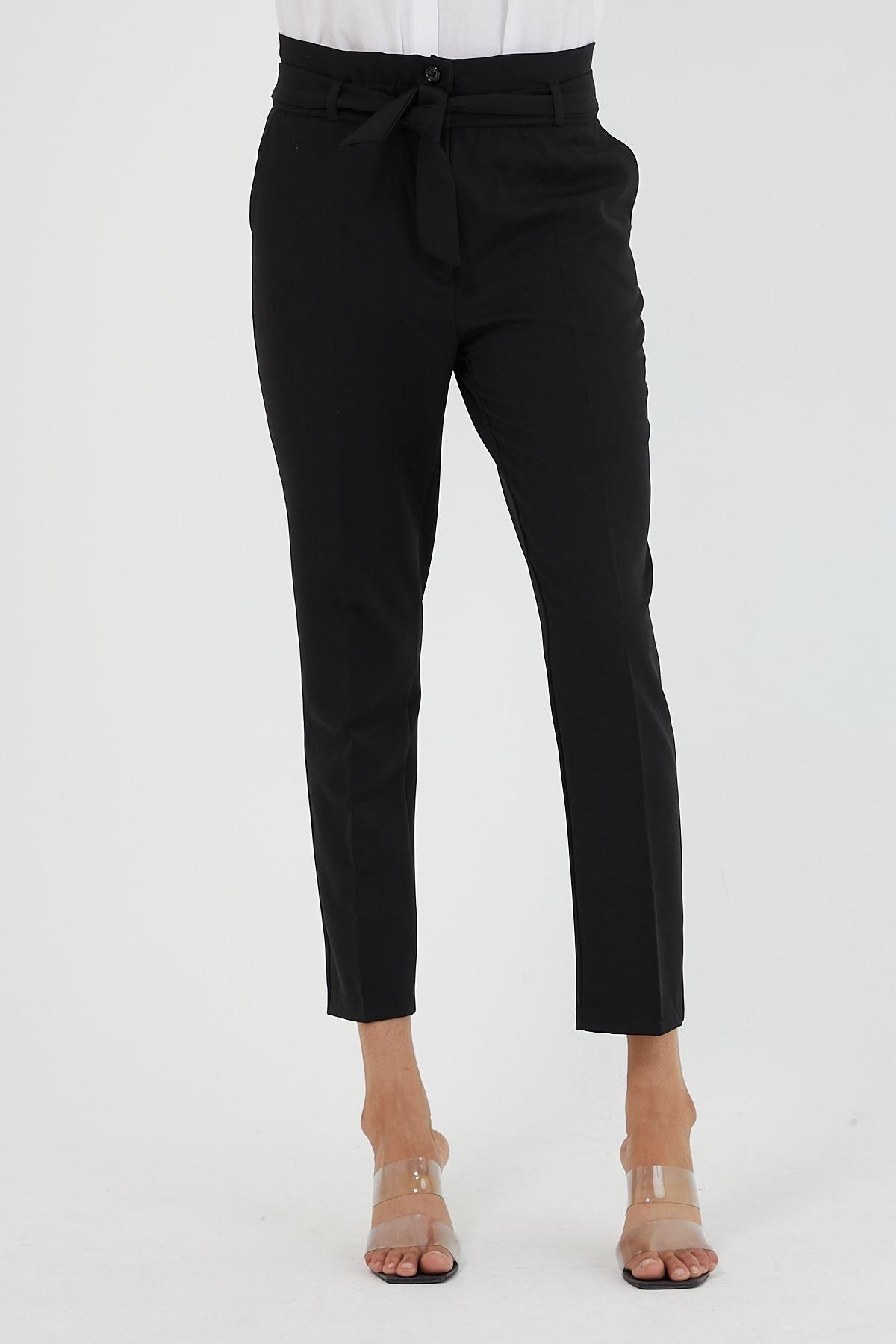 Kadın Bel Büzgülü Siyah Kumaş Pantolon