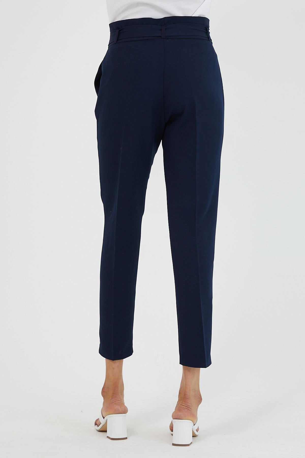 Kadın Bel Büzgülü Lacivert Kumaş Pantolon