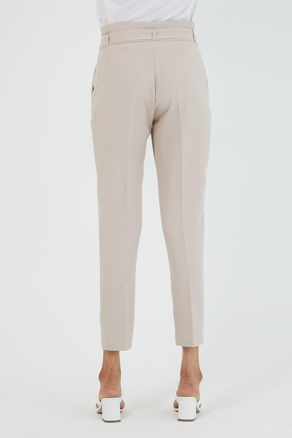 Kadın Bel Büzgülü Bej Kumaş Pantolon