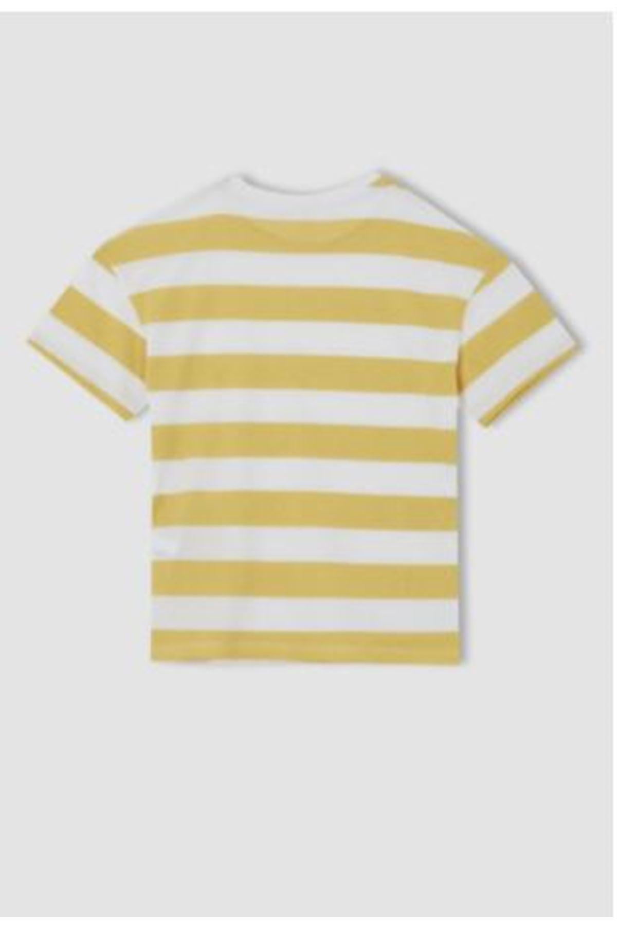 Erkek Çocuk Çizgili Sarı T-shırt