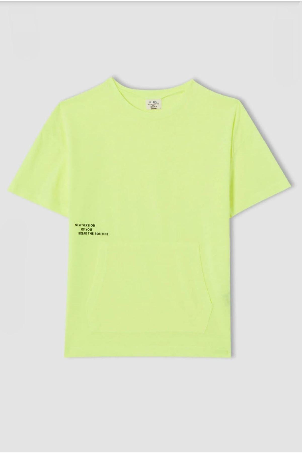 Erkek Çocuk Baskılı Yeşil T-shırt