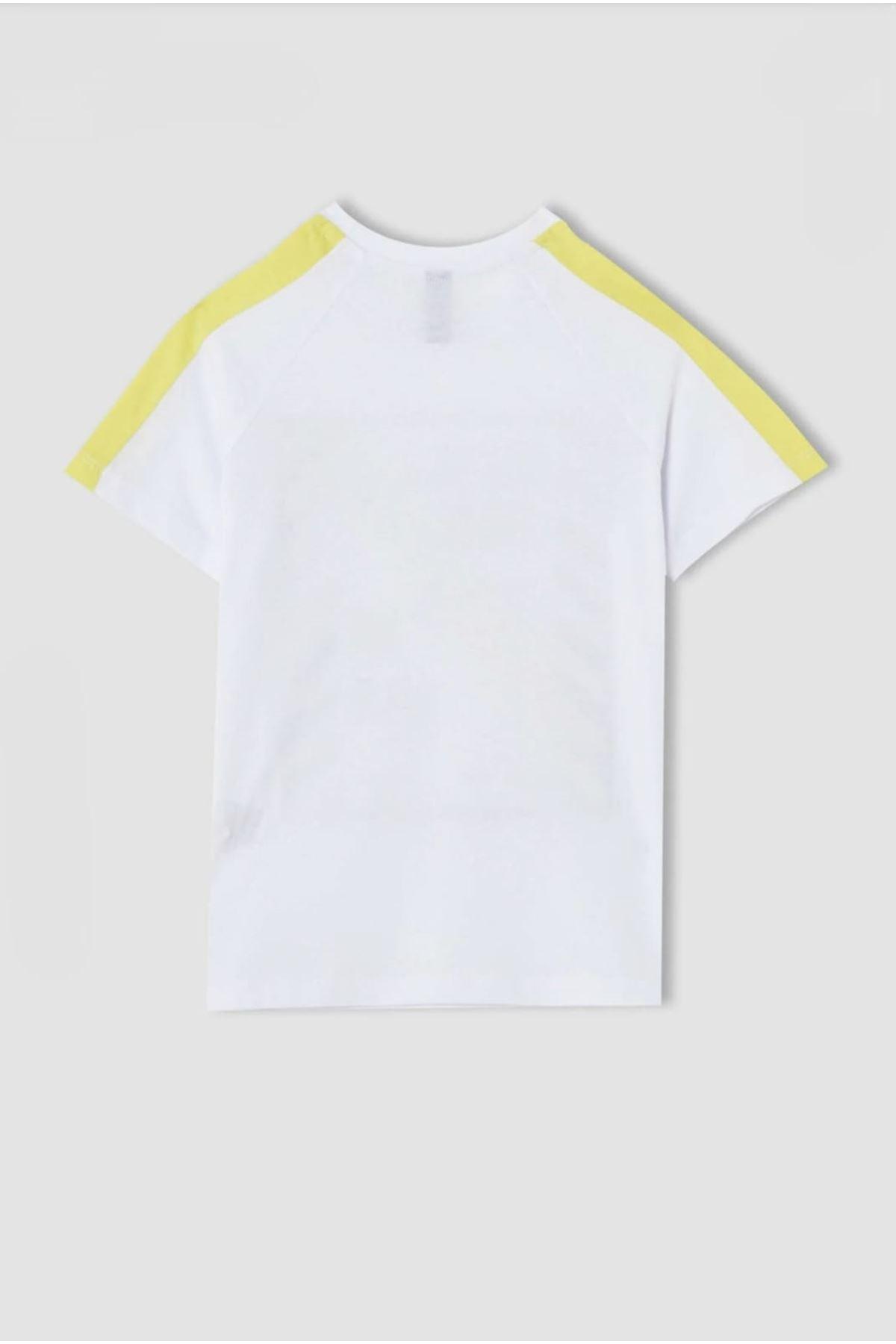 Erkek Çocuk Reglan Kol Baskılı Beyaz T-shırt