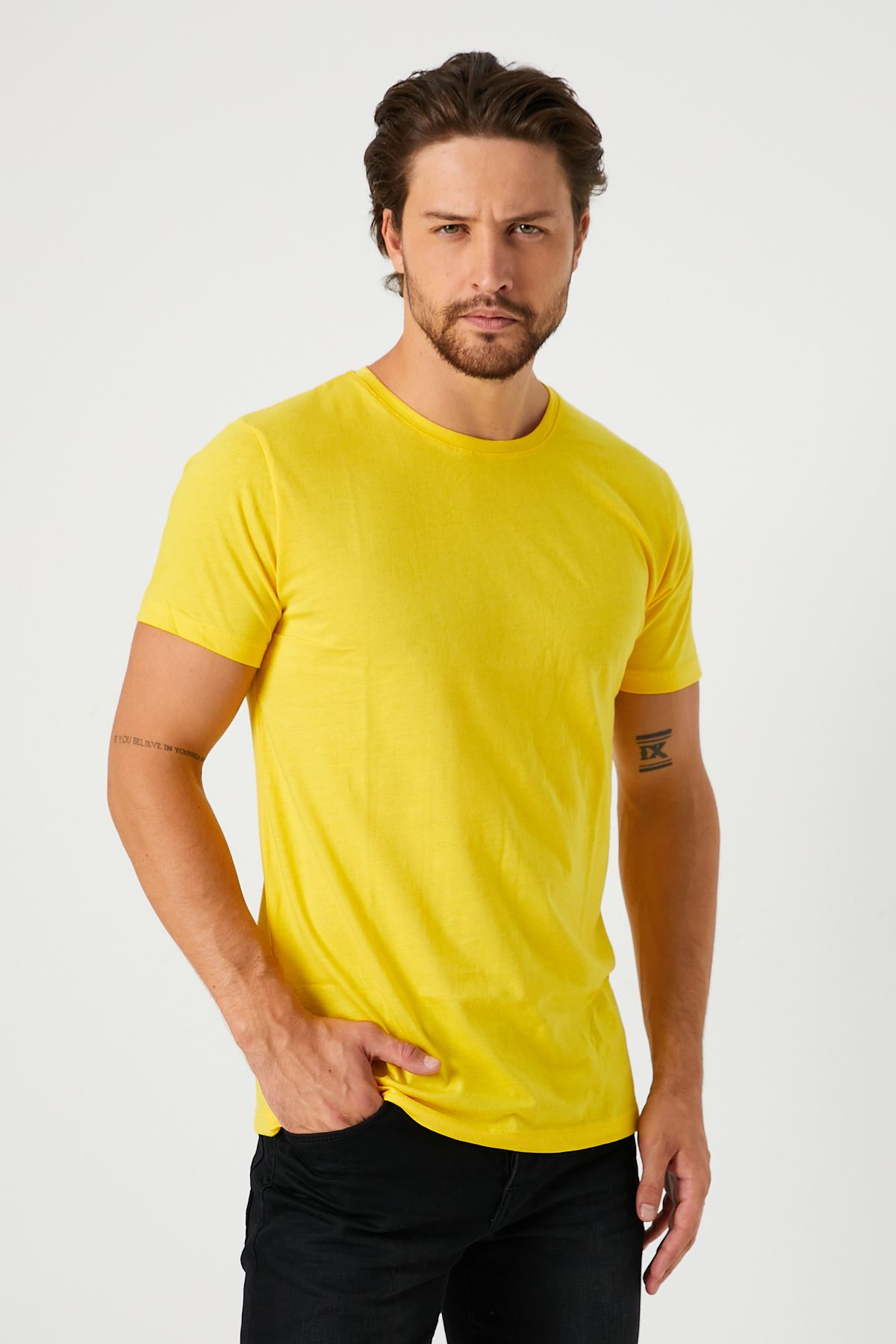 Bisiklet Yaka Bay Sarı T-Shirt